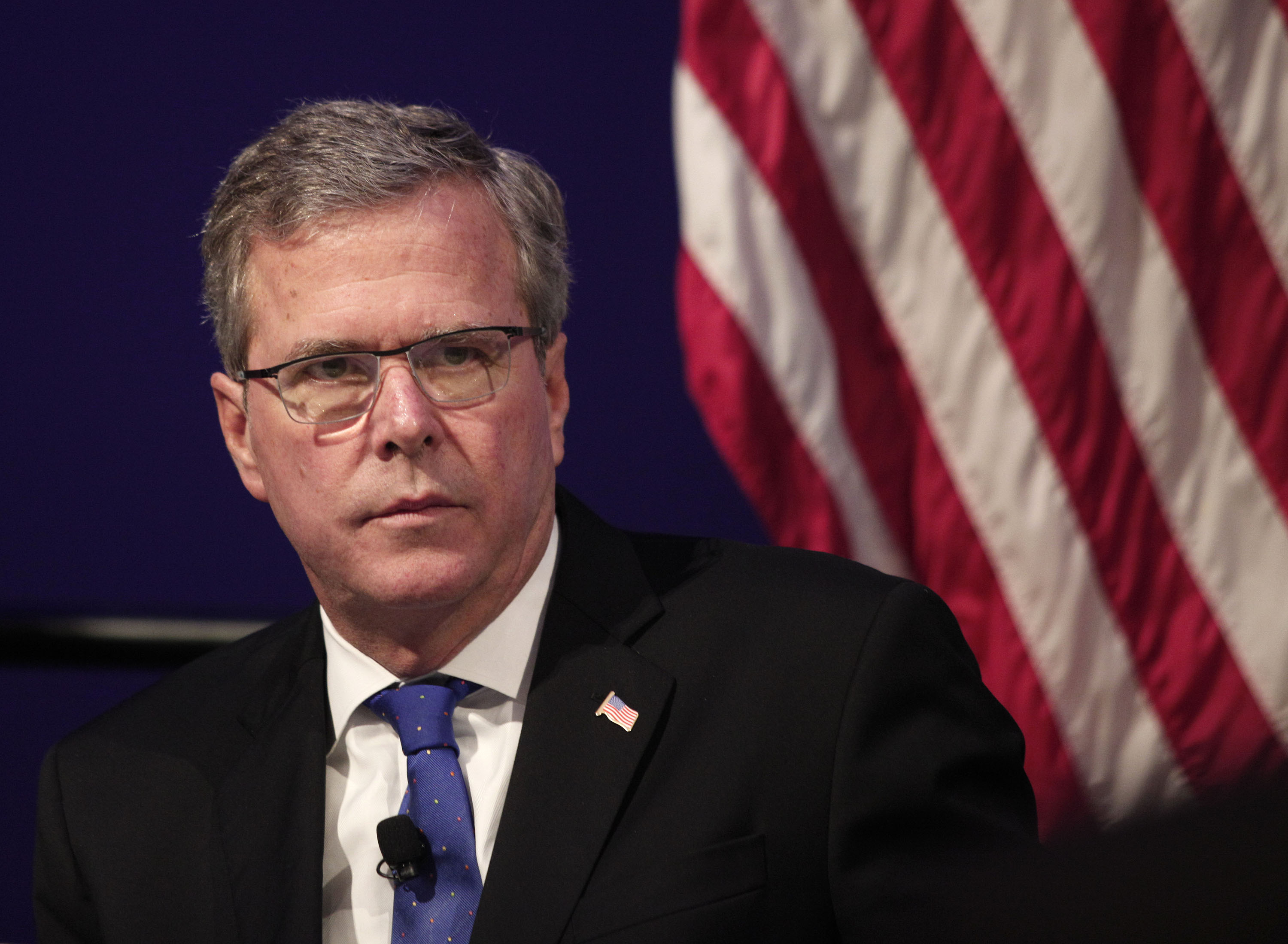Former Florida Governor Jeb Bush waits to speak at the Detroit Economic Club on Feb. 4, 2015 in Detroit.