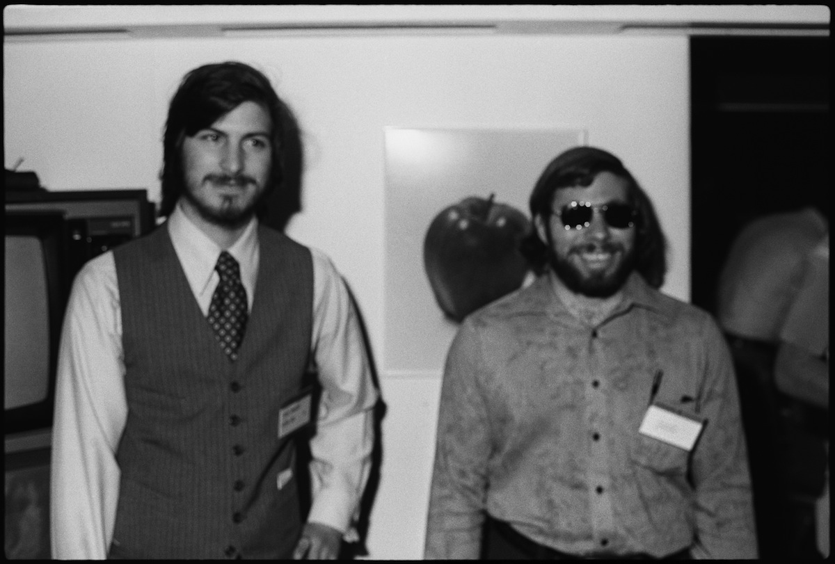 Steve Jobs (left) and Steve Wozniak at the first West Coast Computer Faire, where the Apple II computer was debuted, in San Francisco, April 16th or 17th, 1977