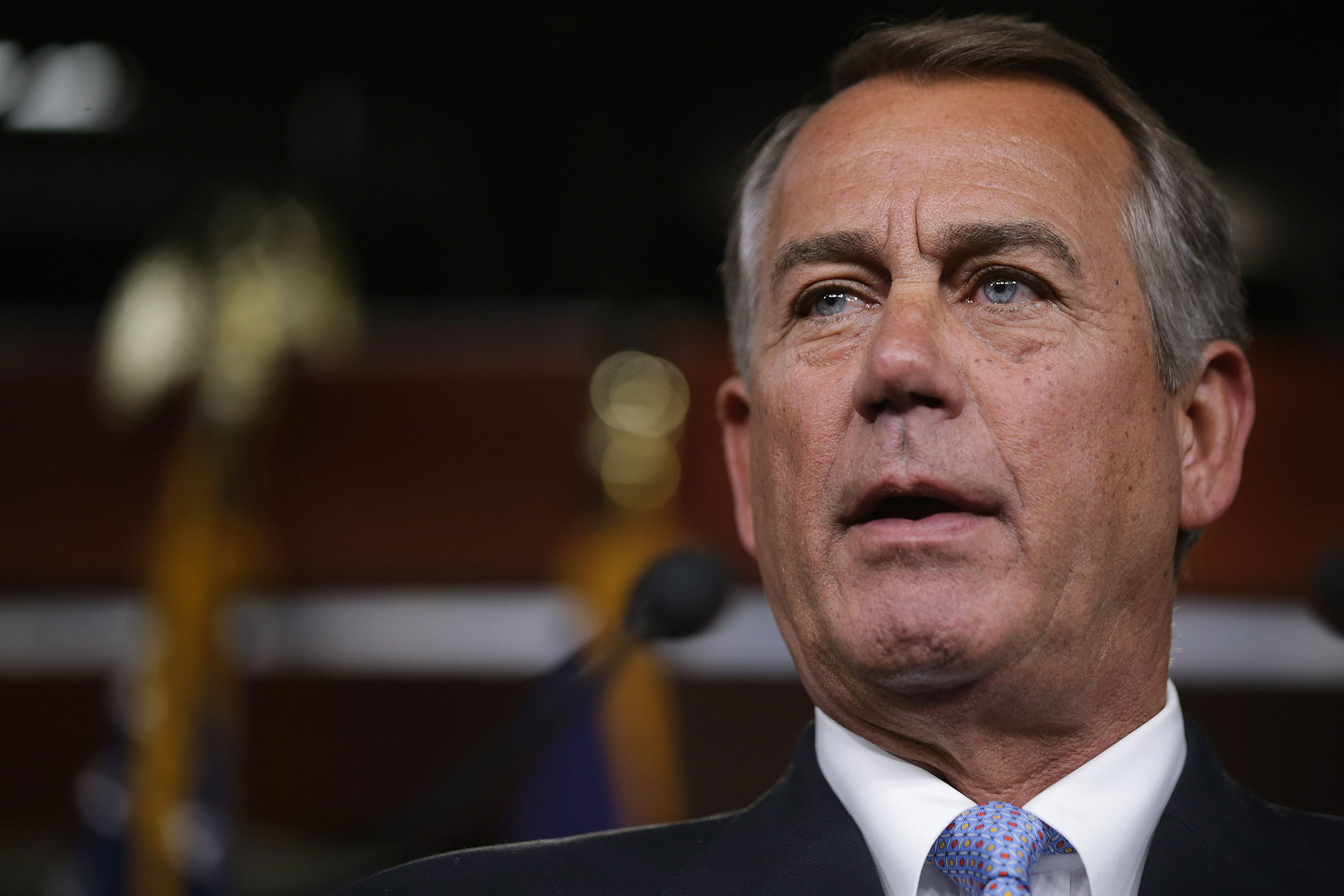 Speaker of the House John Boehner holds his weekly news conference at the U.S. Capitol on Feb. 5, 2015 in Washington, DC.