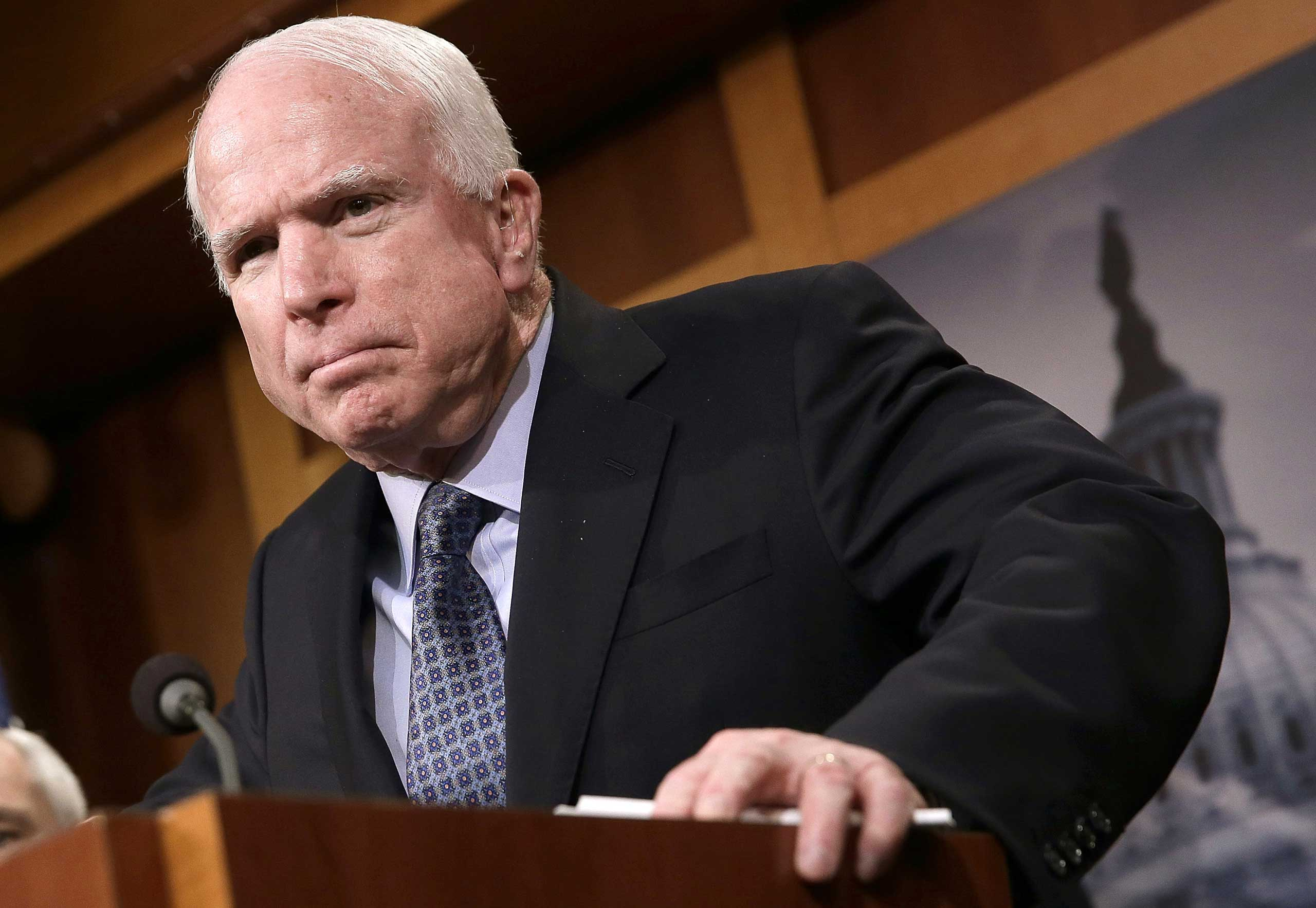 Sen. John McCain (R-AZ) speaks during a press conference at the U.S. Capitol on the conflict in Ukraine, Feb. 5, 2015 in Washington, DC.