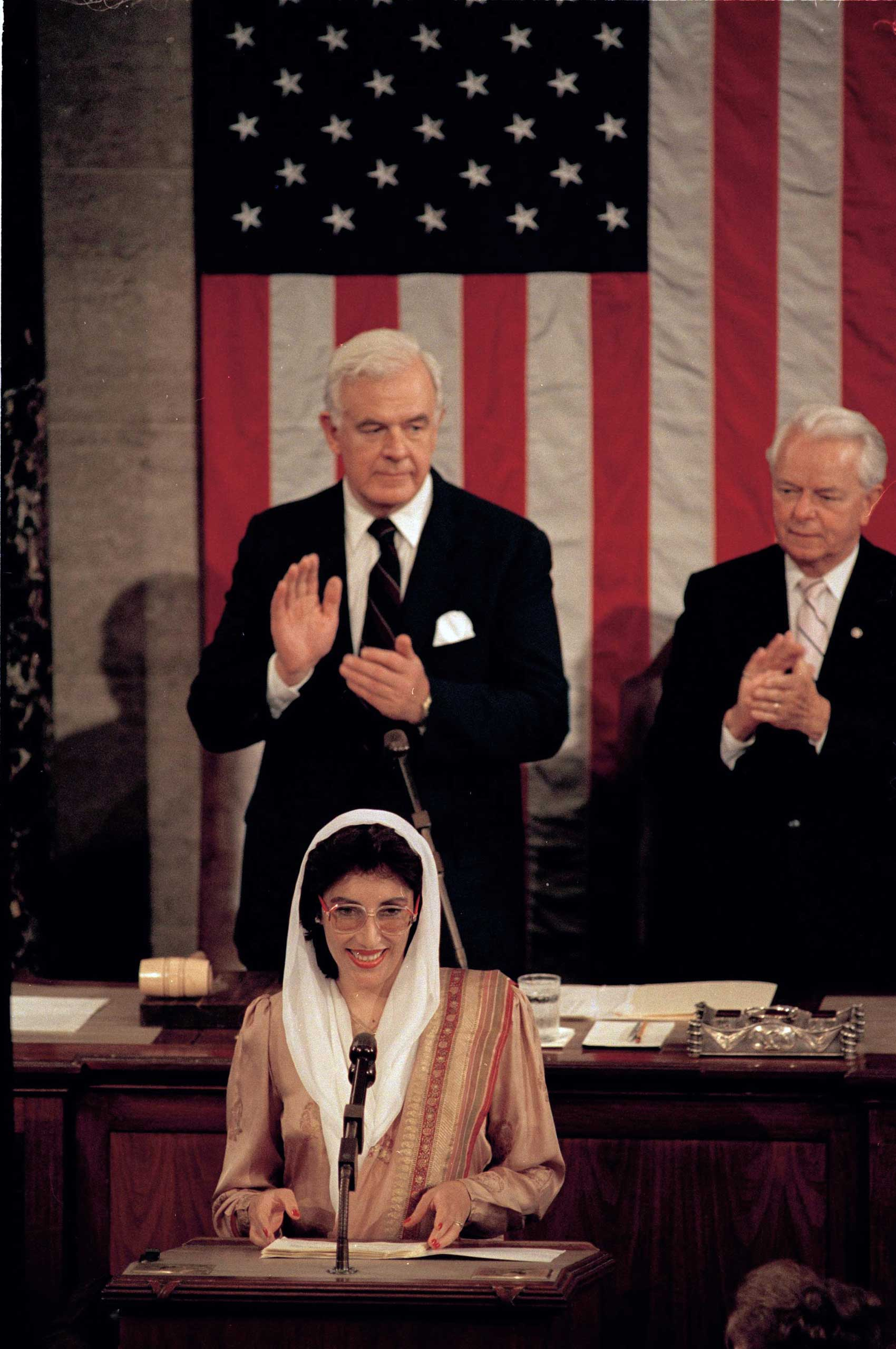 <b>Benazir Bhutto</b>, prime minister of Pakistan, addresses Congress on June 7, 1989. She was the first woman elected to lead an Islamic state, and she remains Pakistan's only woman prime minister to date. After serving two non-consecutive terms, she was exiled to Dubai in 1999. She returned to Pakistan in 2007 to run for the office again, and was assassinated.