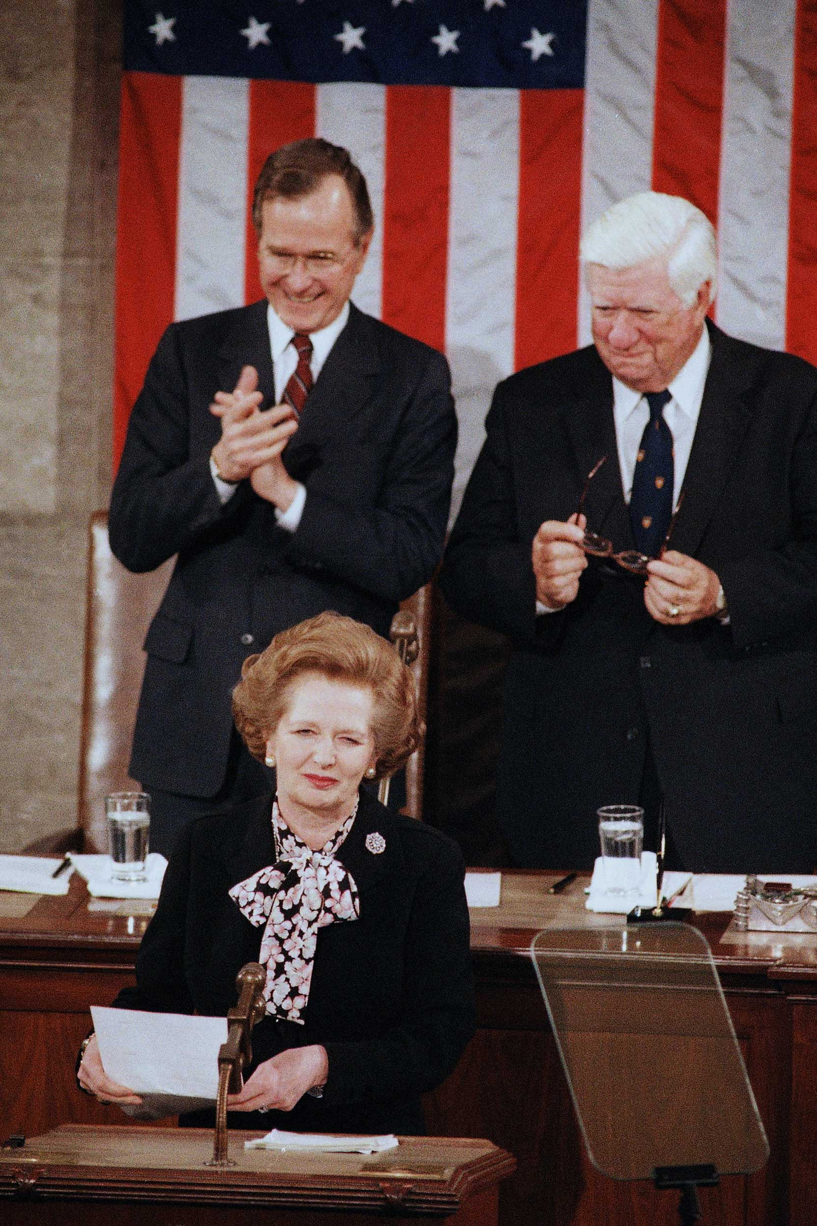 <b>Margaret Thatcher</b>, British Prime Minister, addressed Congress on Feb. 20, 1985. She was the first female head of state to do so who was not a monarch.
