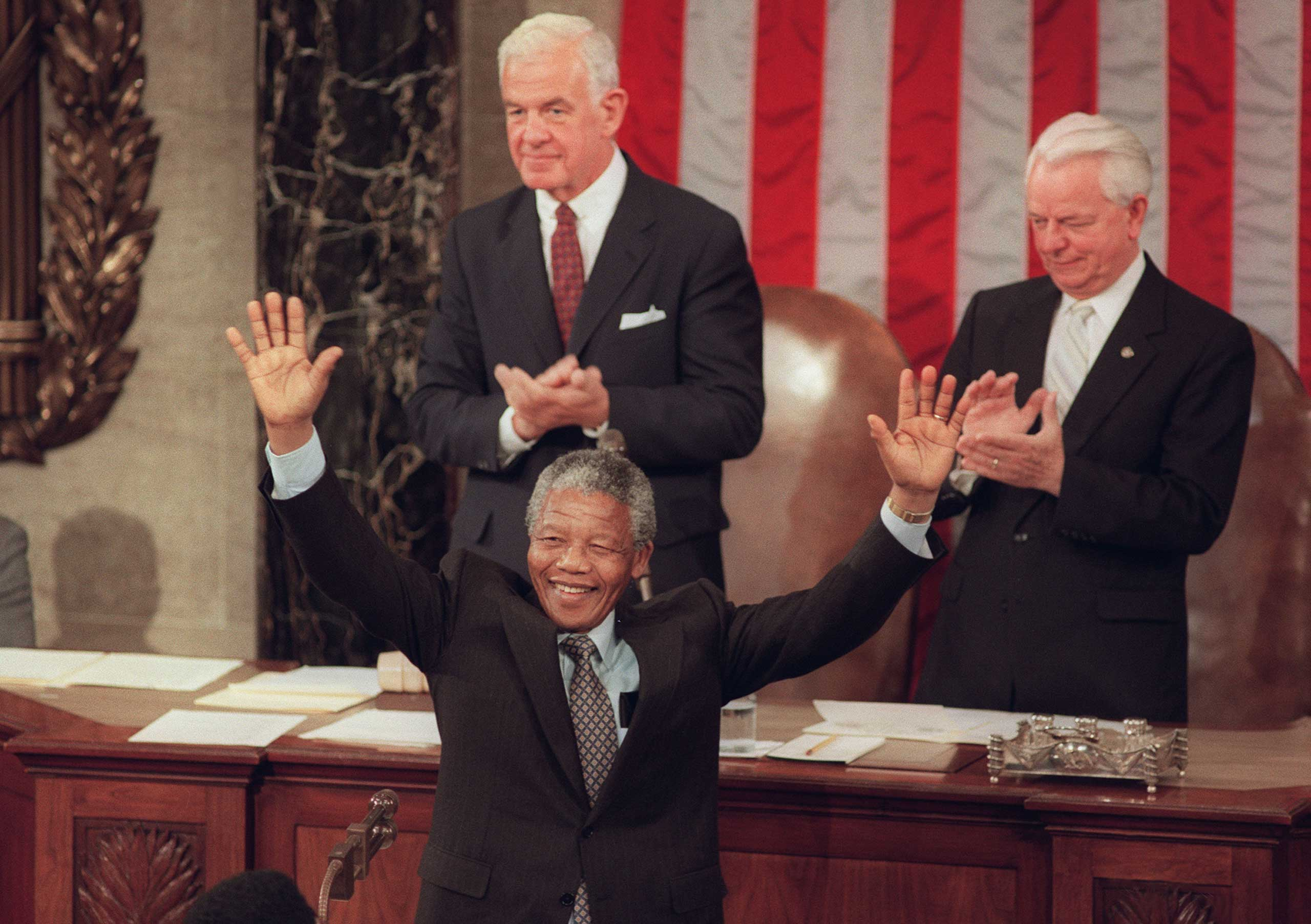<b>Nelson Mandela </b> addresses Congress on June 26, 1990. At the time, he was president of the African National Congress. Apartheid was still law in South Africa and Mandela had only just been released from prison a few months before his appearance before lawmakers.