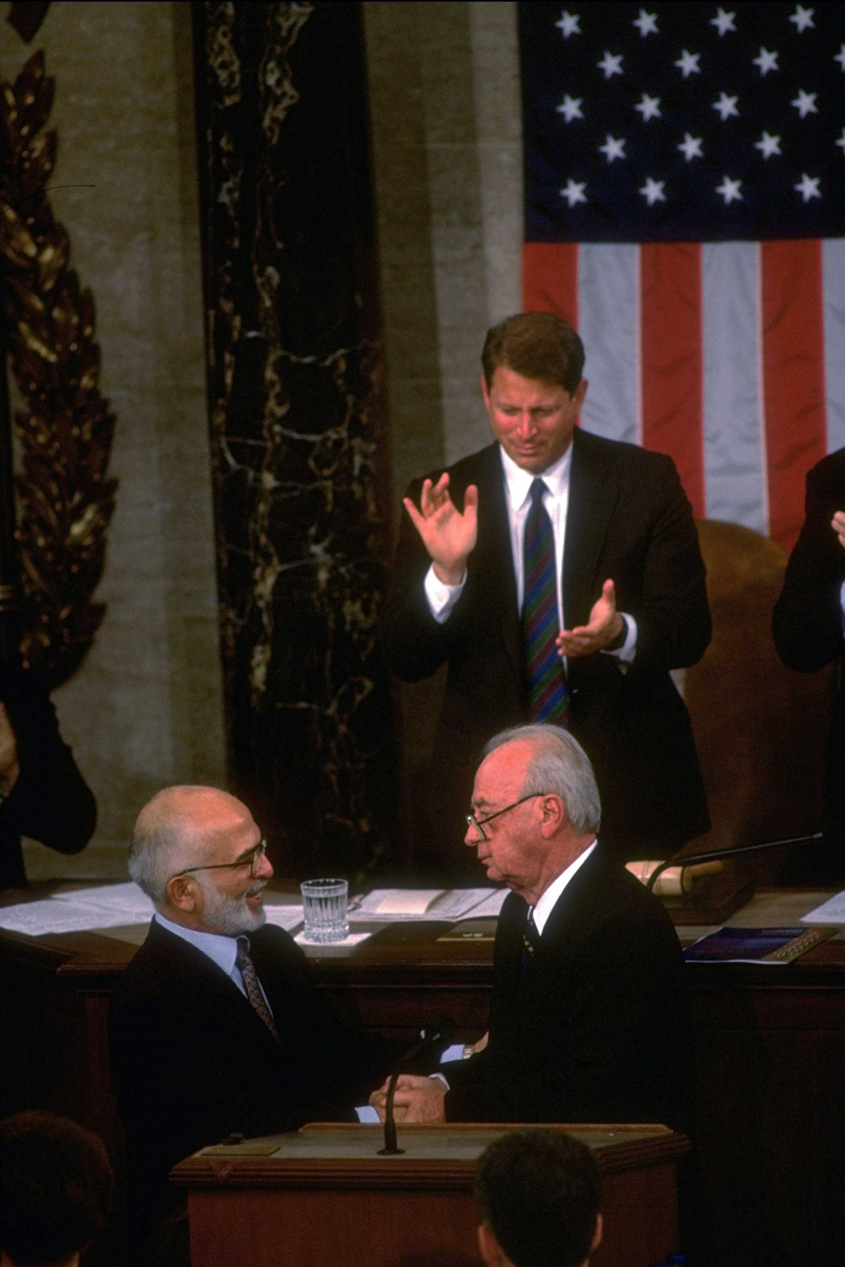 <b>Yitzhak Rabin, Israeli Prime Minister, and King Hussein of Jordan</b> shake hands following a joint address to Congress on July 26, 1994. In the second of two Arab-Israeli appearances, Jordan's leader appeared with Israel's prime minister to celebrate their peace treaty. The treaty, signed the next month, ended a 46-year state of war.