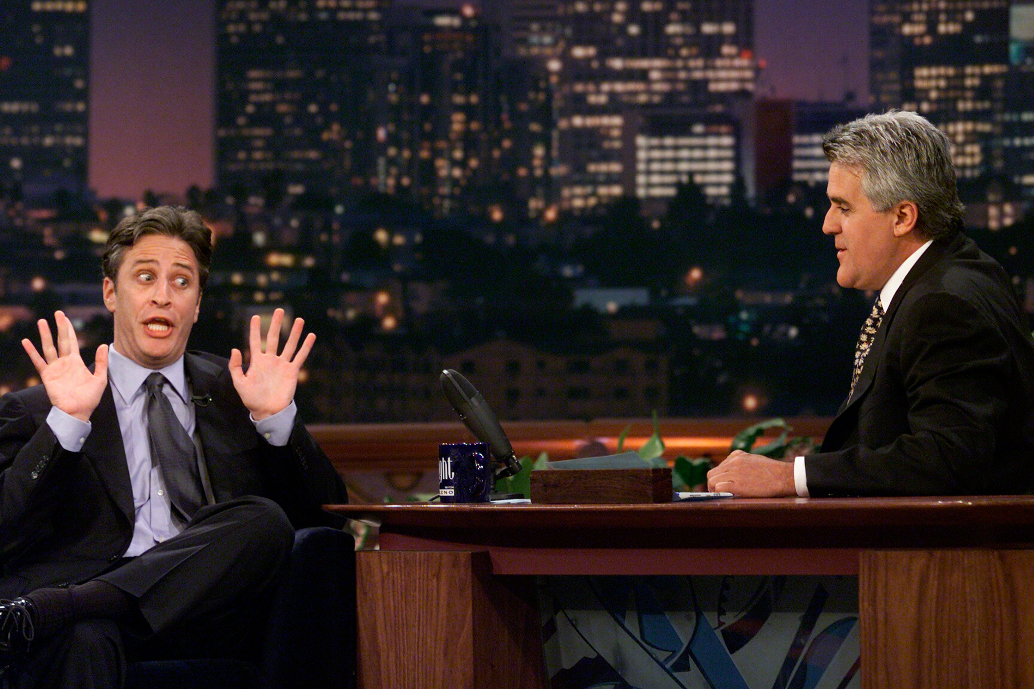 Jay Leno interviews Jon Stewart on <i>The Tonight Show With Jay Leno</i> in 2000.