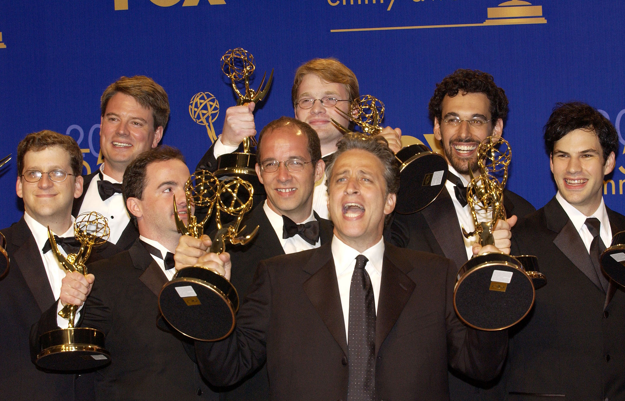 Jon Stewart and his team win the first of many Emmys for <i>The Daily Show</i> in 2003.