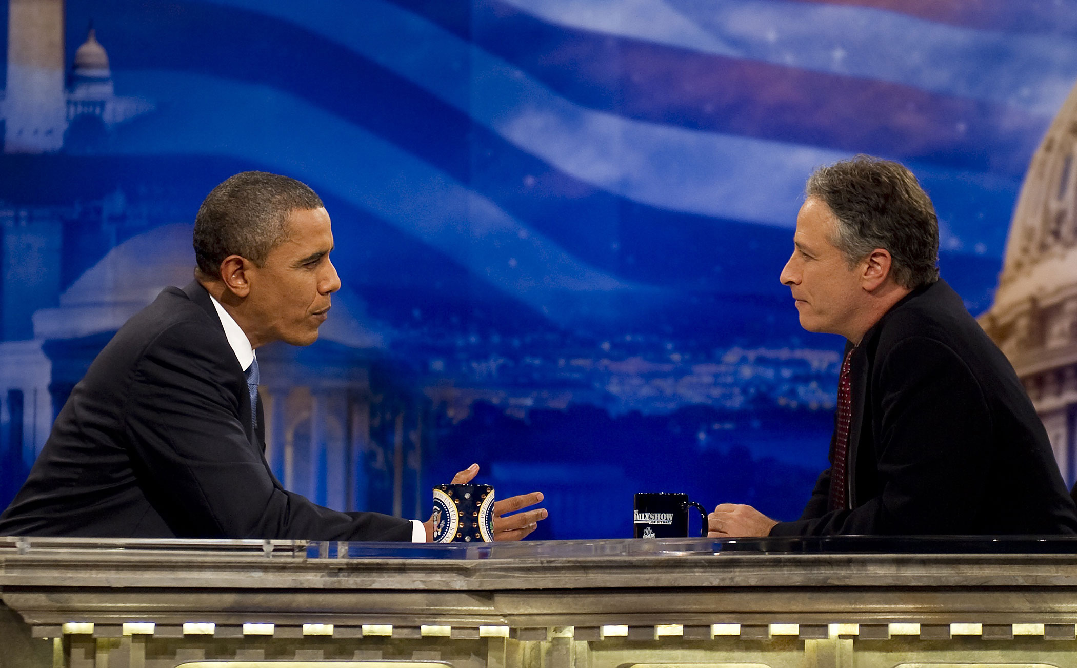 Jon Stewart interviews President Barack Obama on <i>The Daily Show</i> at the Harman Center for the Arts in Washington, DC, Oct. 26, 2010.