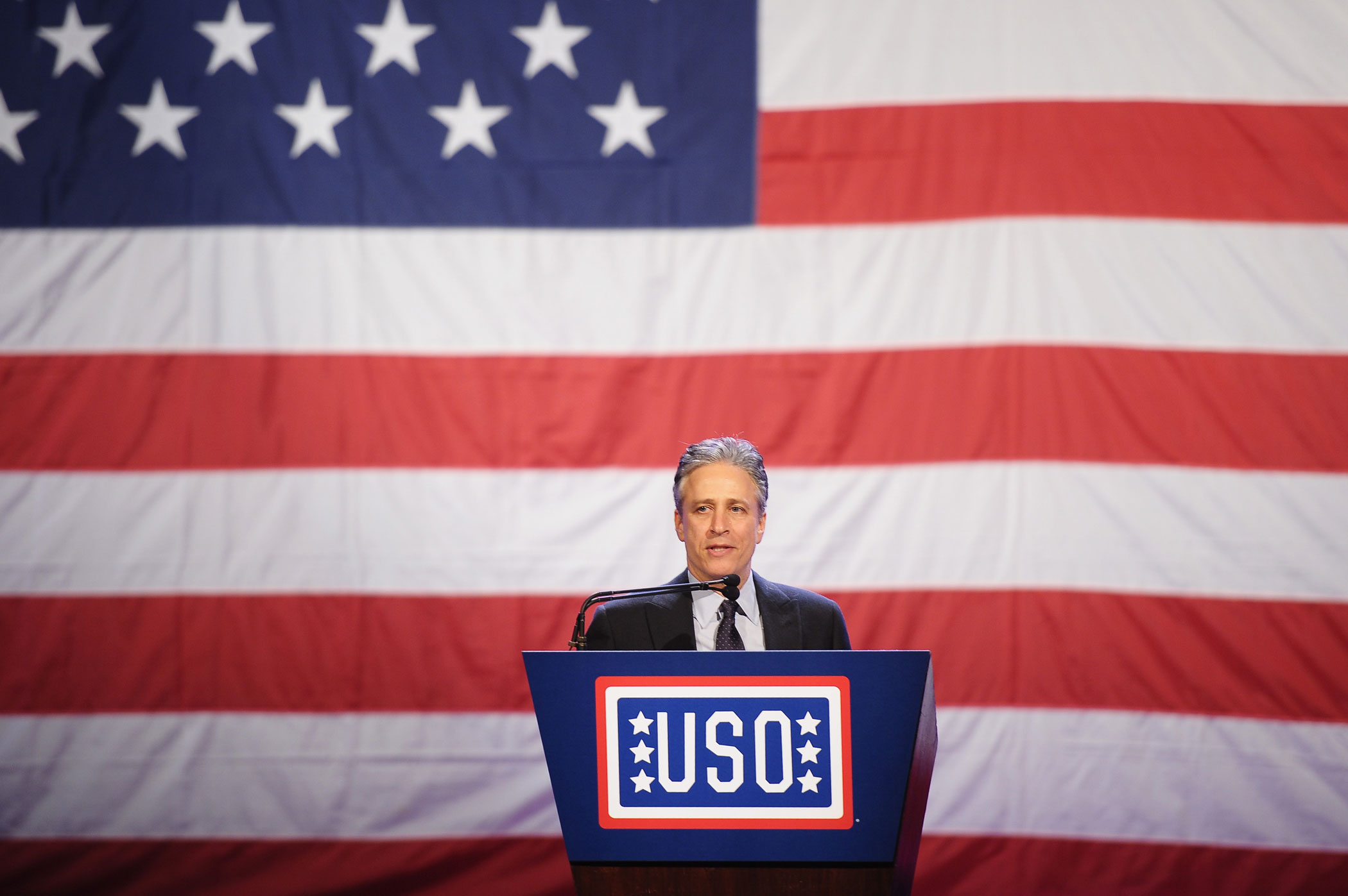 Jon Stewart speaks at the 51st USO Armed Forces Gala & Gold Medal Dinner on Dec. 13, 2012 in New York City.