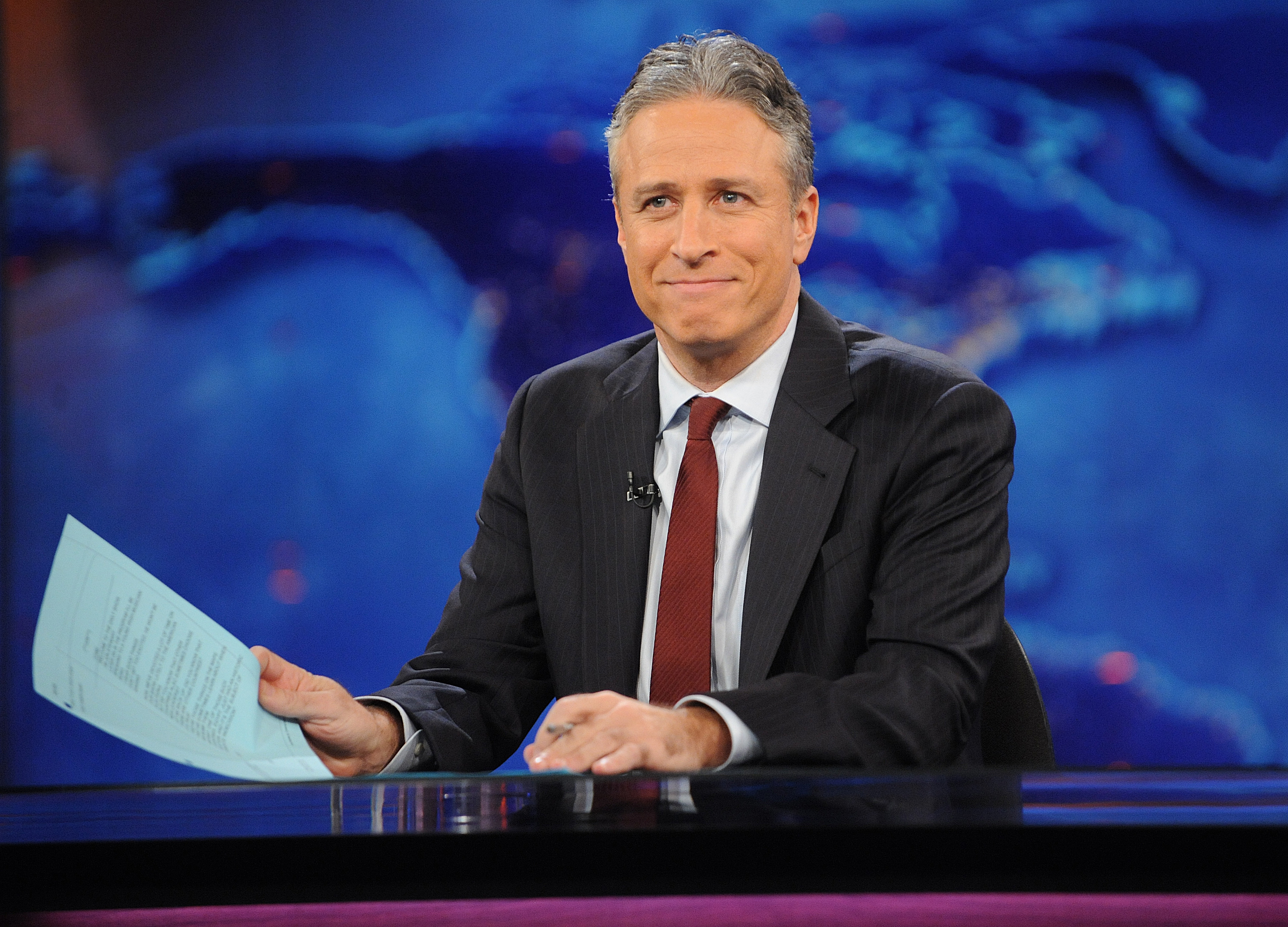 Jon Stewart during a taping of The Daily Show with Jon Stewart in 2011.