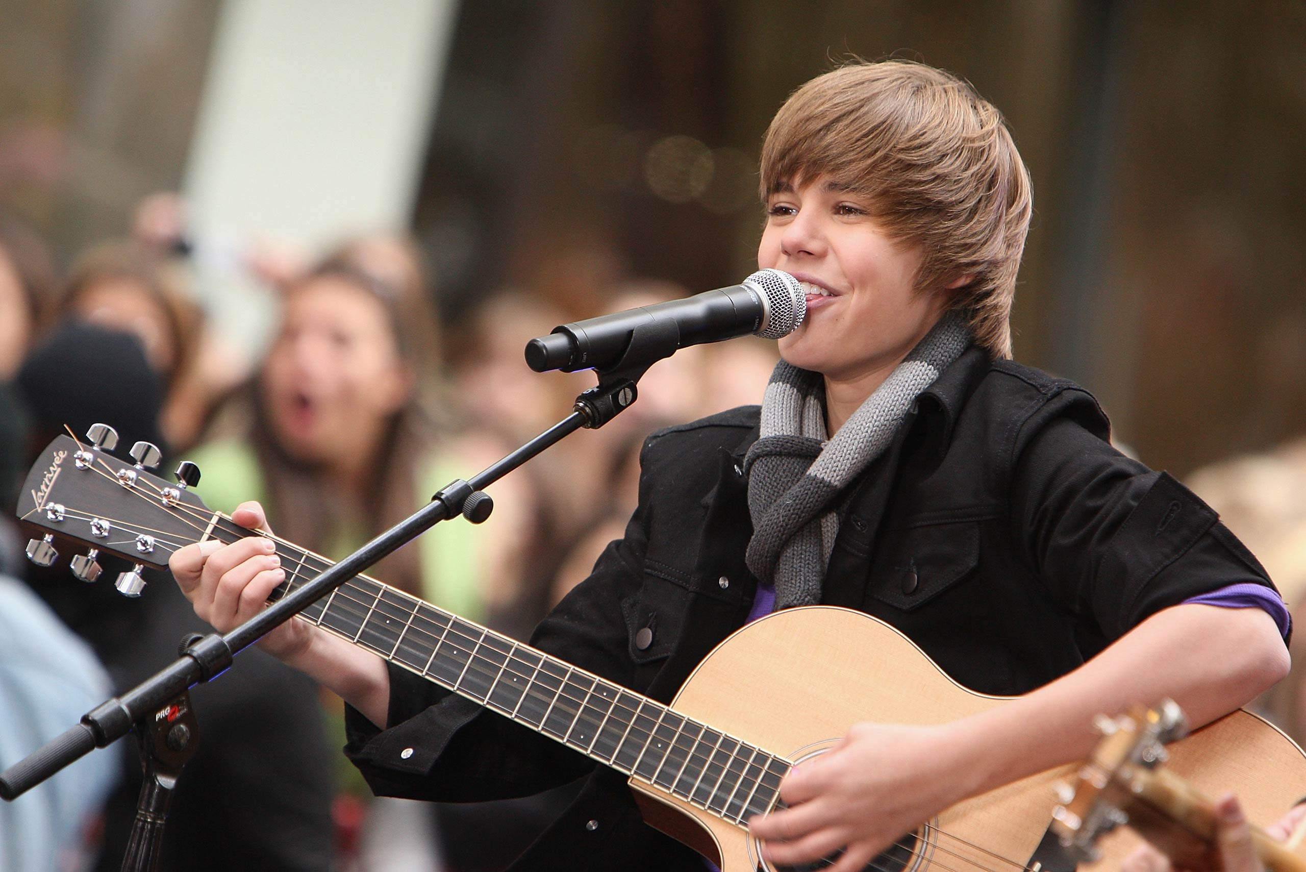 Justin Bieber performs on <i>Today</i> at Rockefeller Center in New York City in 2009.
