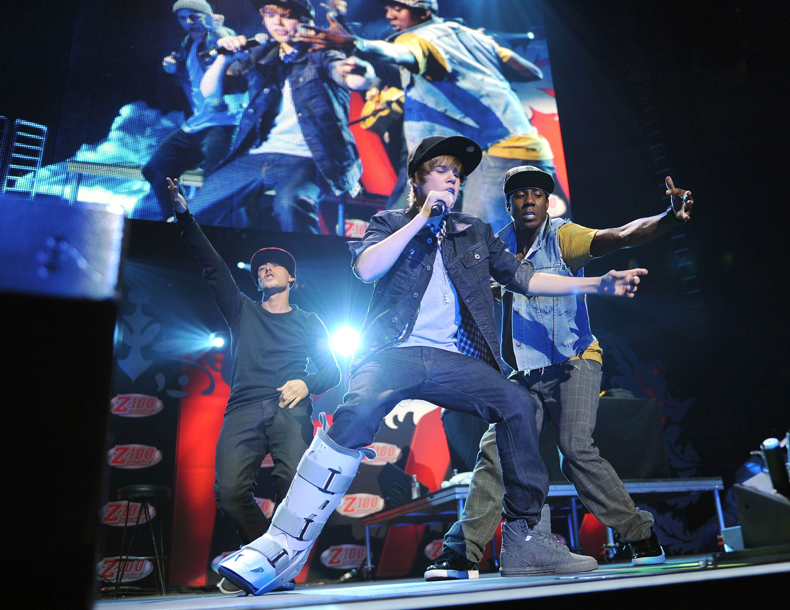 Justin Bieber performs onstage during Z100's Jingle Ball 2009 at Madison Square Garden in New York City in 2009.