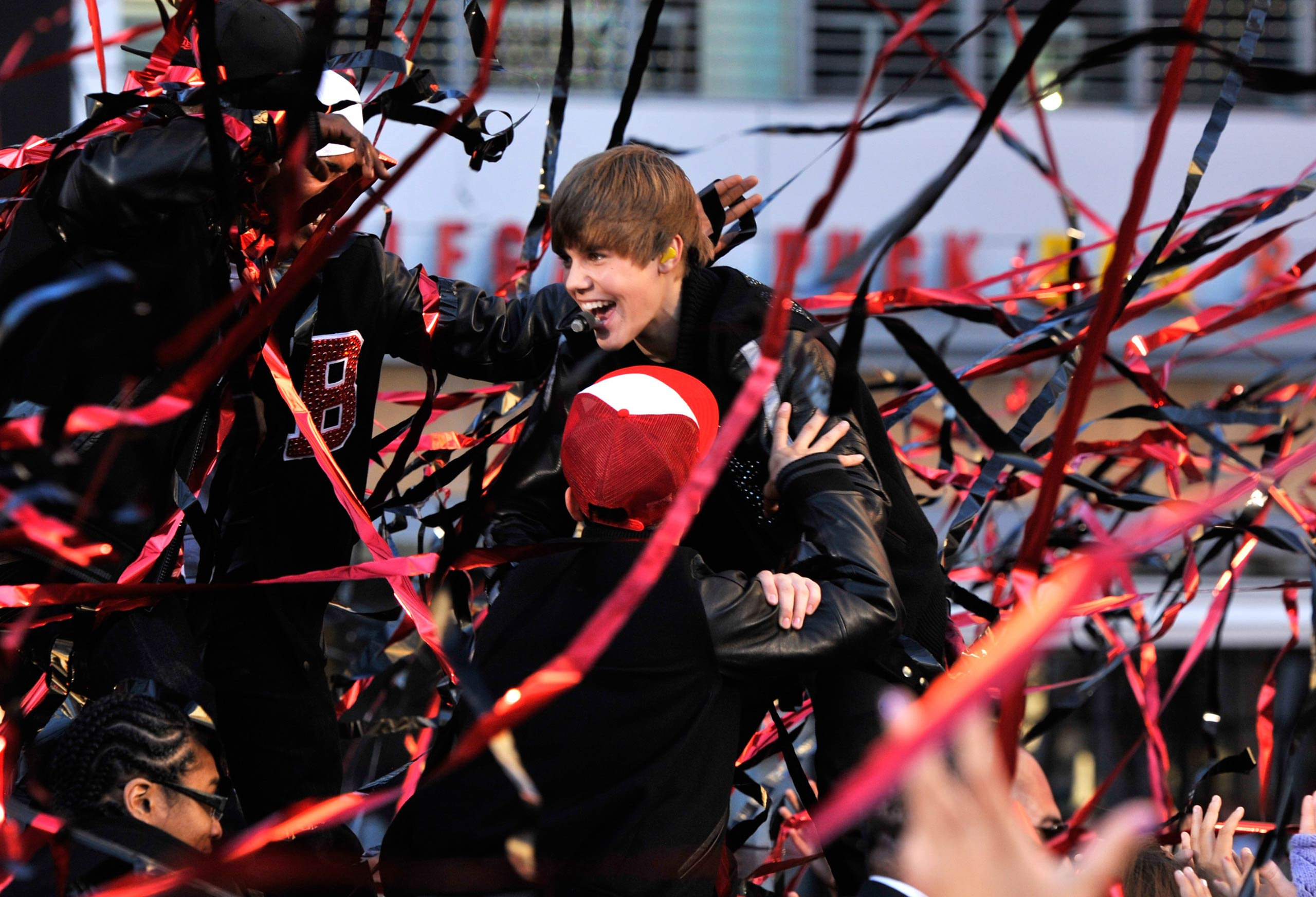 Justin Bieber performs on stage at the 2010 MTV Video Music Awards held at Nokia Theatre L.A. Live in Los Angeles, Calif. in 2010.