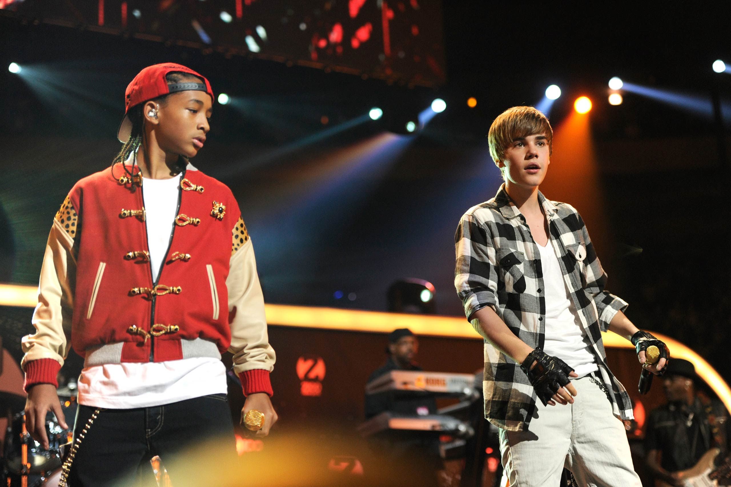 Jaden Smith and Justin Bieber perform onstage during Z100's Jingle Ball 2010 presented by H&M at Madison Square Garden in New York City in 2010.