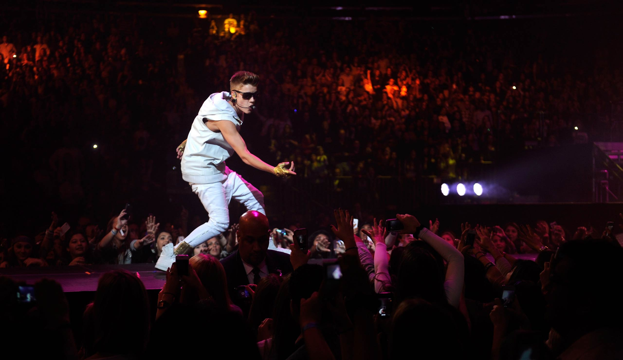 Justin Bieber performs at Madison Square Garden in New York City in 2012.
