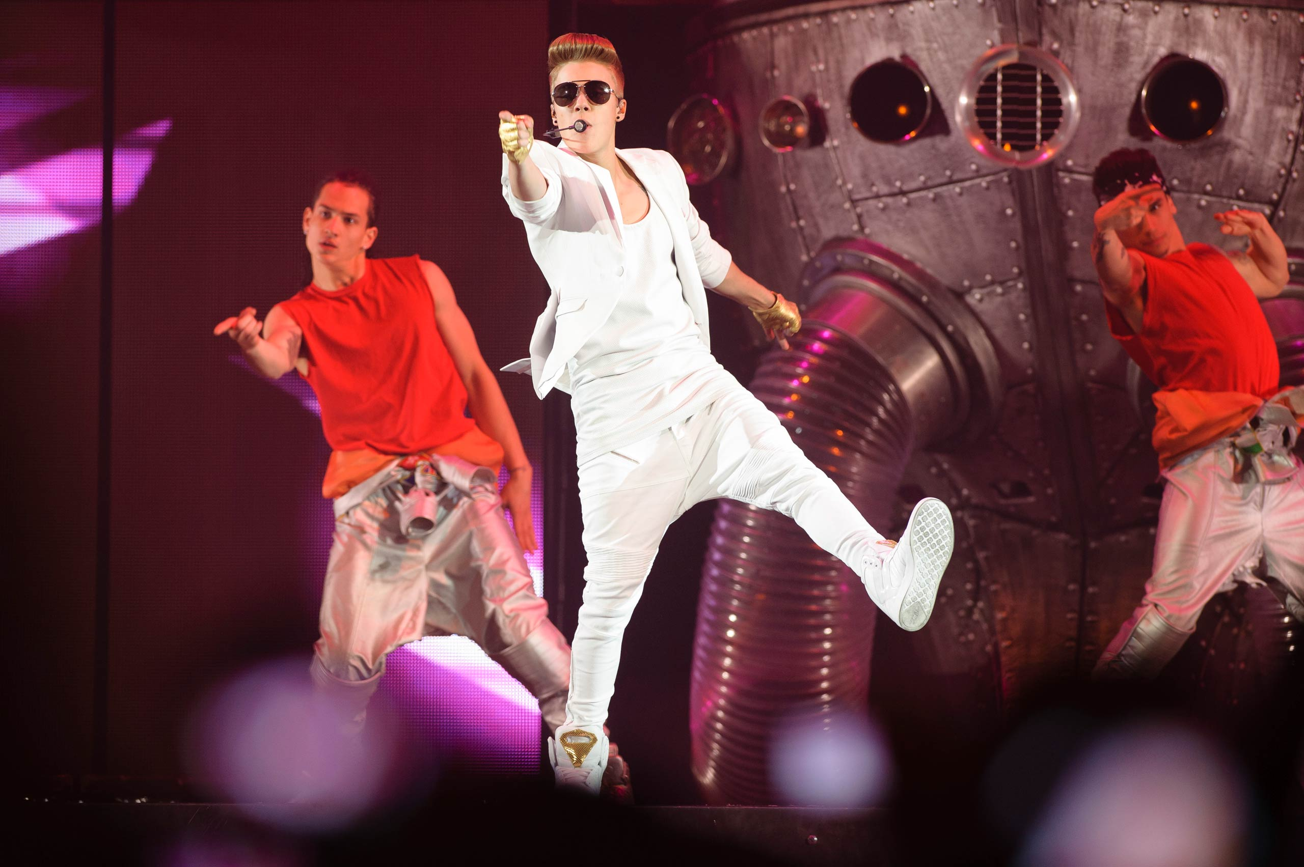 Justin Bieber performs on stage at Olympiahalle in Munich, Germany in 2013.