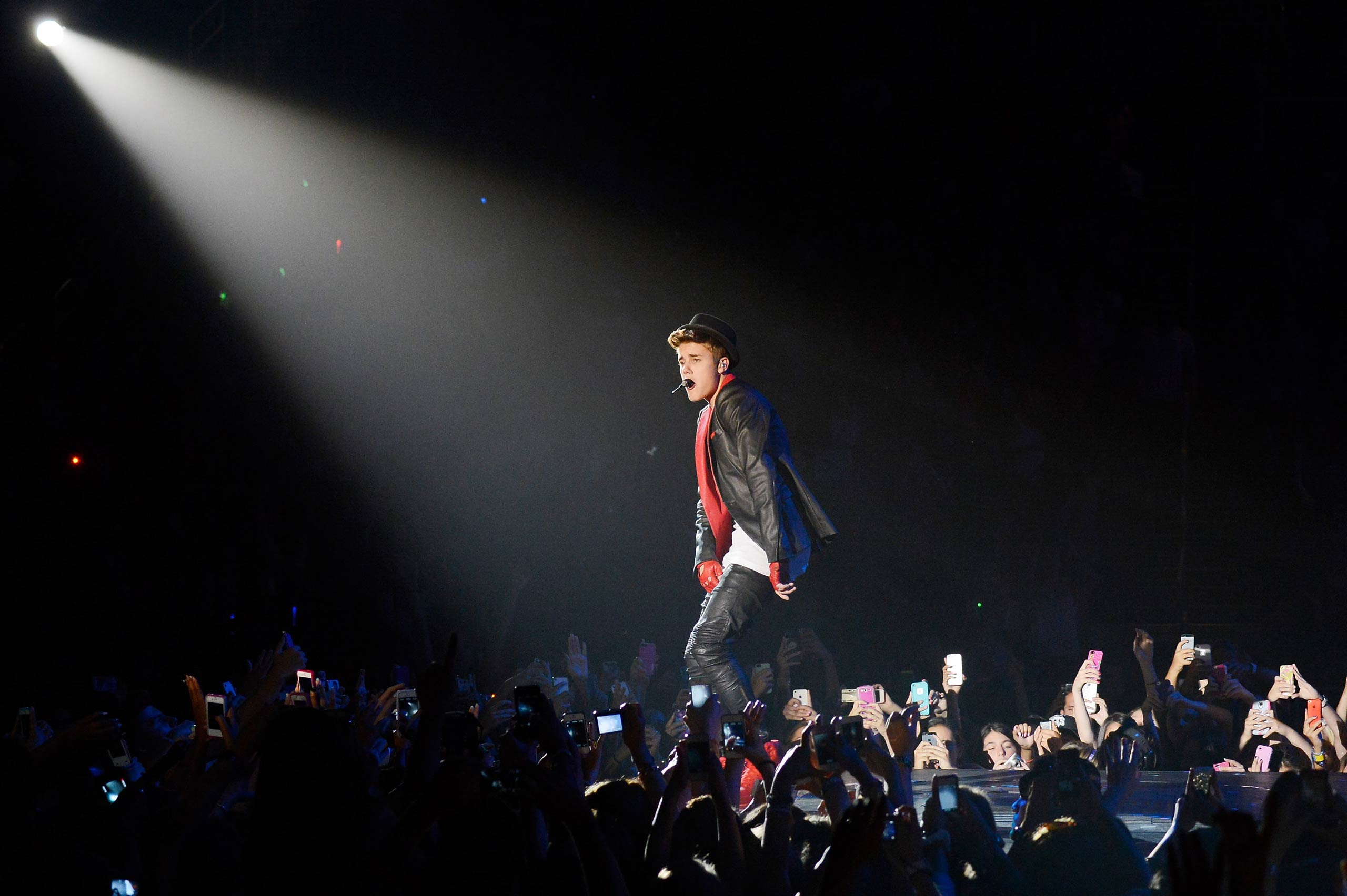 Justin Bieber performs during his Believe Tour at Barclays Center in Brooklyn, NY in 2013.