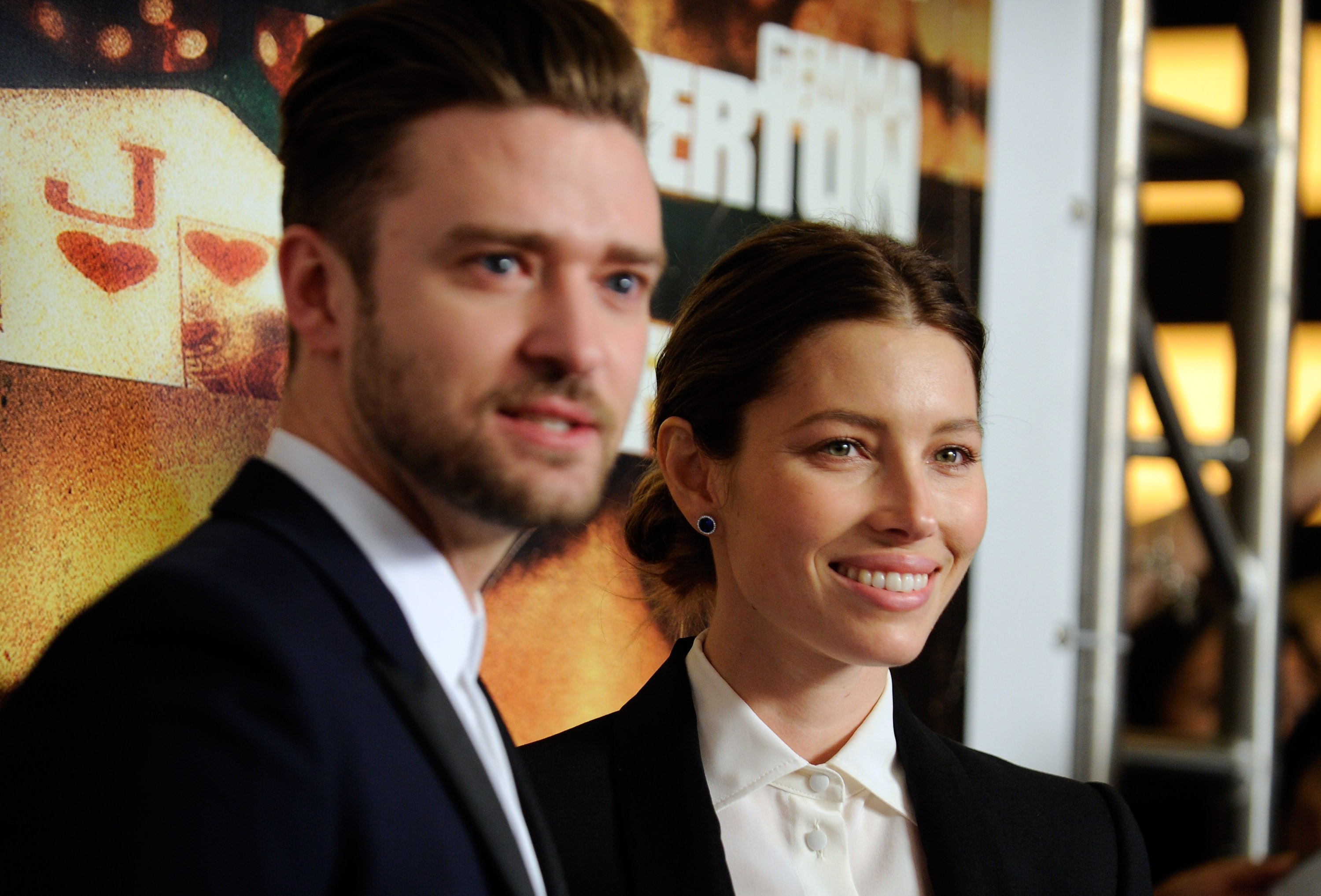 Justin Timberlake and his wife actress Jessica Biel, arrive at the world premiere of Twentieth Century Fox and New Regency's film  Runner Runner  at Planet Hollywood Resort & Casino on Sept. 18, 2013 in Las Vegas.