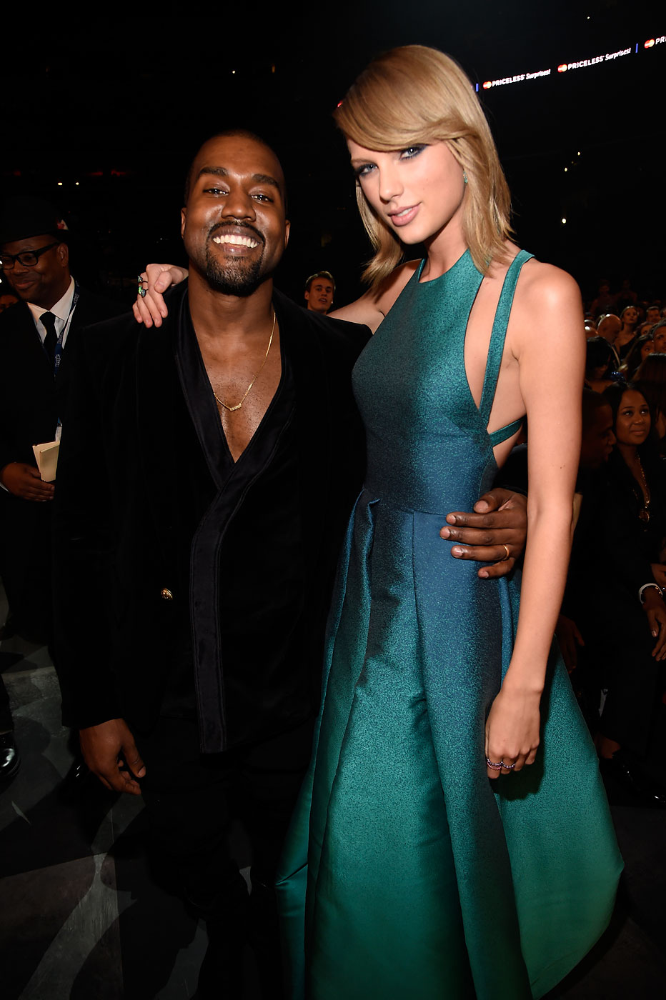 Kanye West and Taylor Swift attend the 57th Annual Grammy Awards in Los Angeles, Feb. 8, 2015.