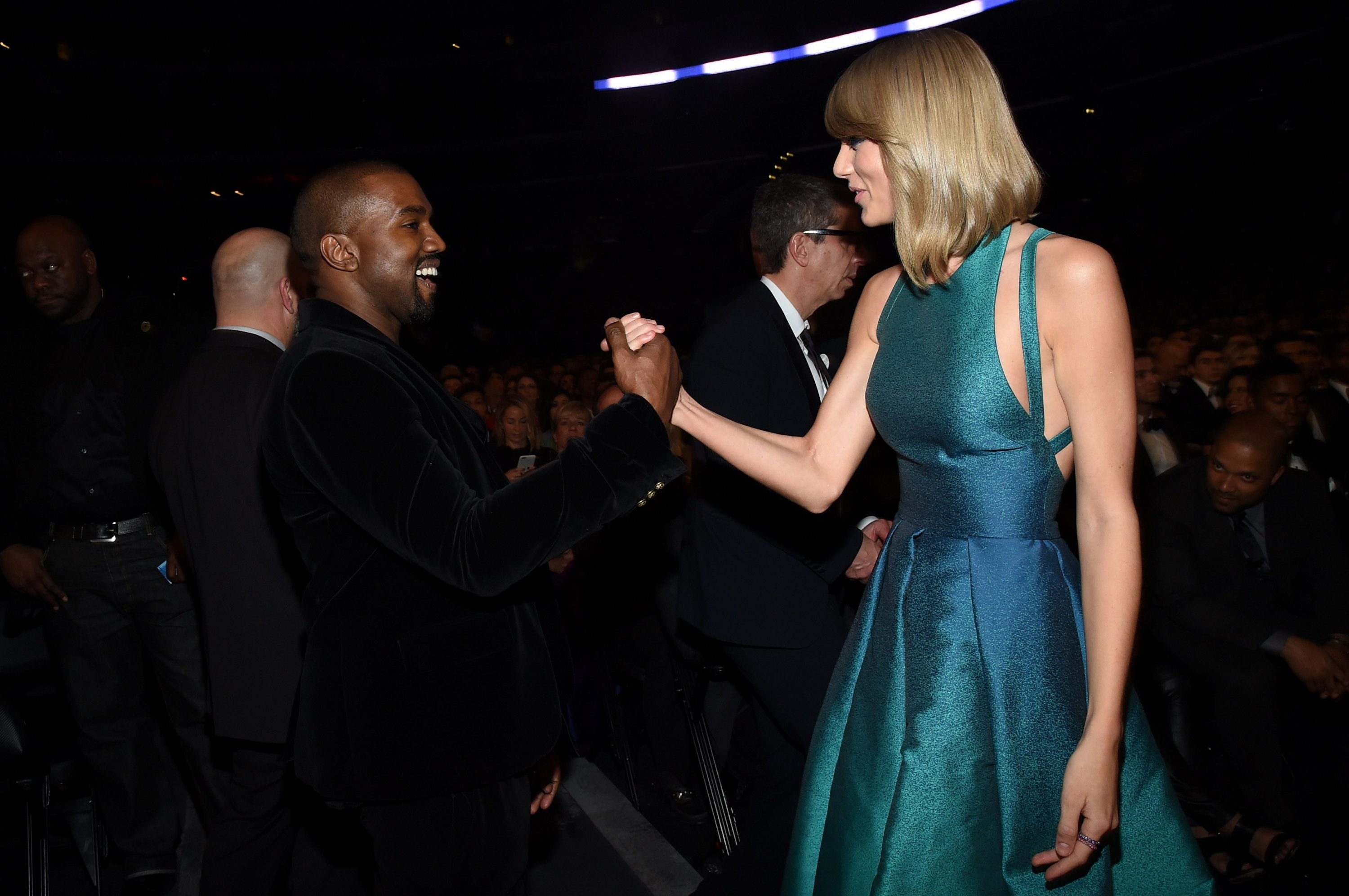 Recording Artists Kanye West and Taylor Swift attend The 57th Annual GRAMMY Awards at the STAPLES Center on Feb. 8, 2015 in Los Angeles.