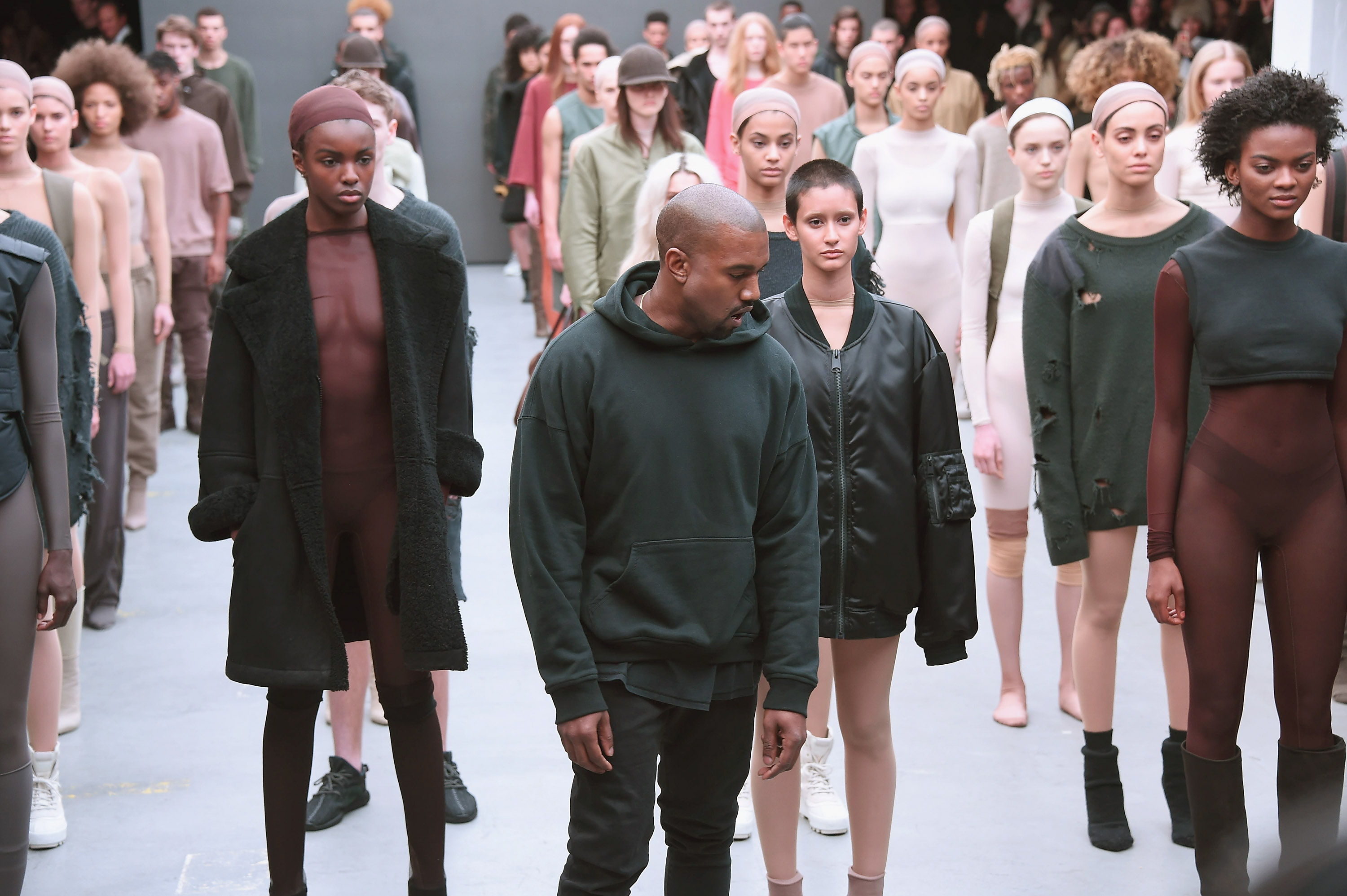 Kanye West attends the Adidas show during Mercedes-Benz Fashion Week Fall 2015 at Skylight Clarkson SQ. on Feb. 12, 2015 in New York City.