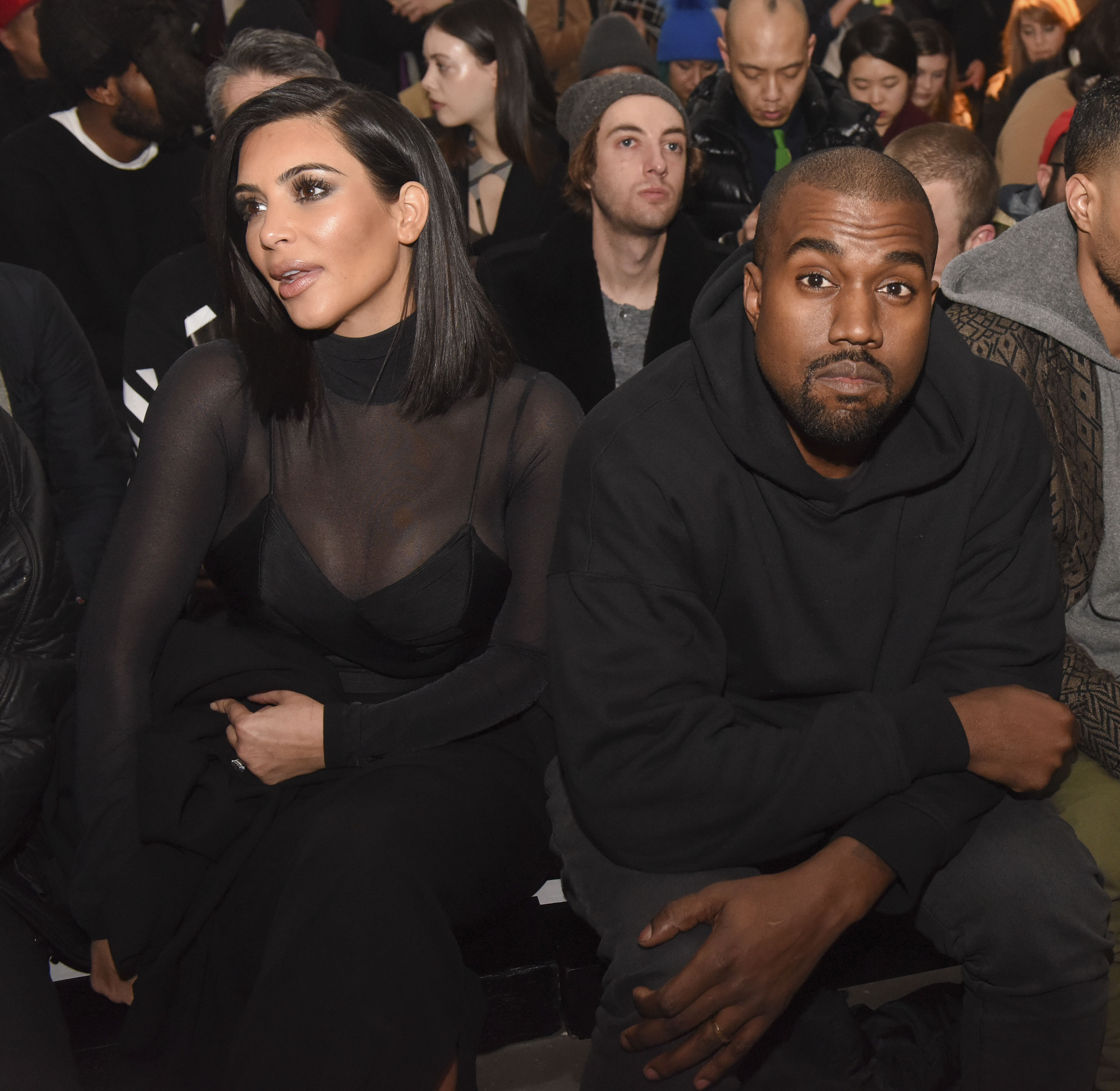Kim Kardashian and Kanye West attend the Robert Geller show during Mercedes-Benz Fashion Week Fall 2015 at Pier 59 on Feb. 14, 2015 in New York City.