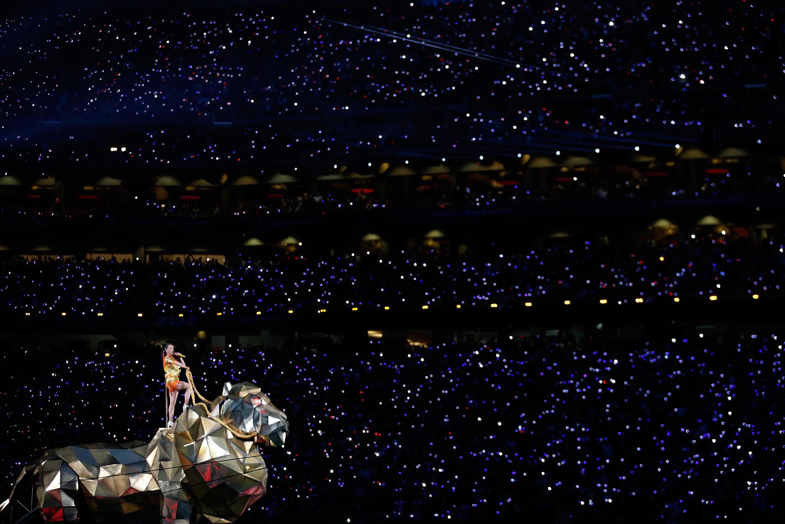 Katy Perry performs during the Pepsi Super Bowl XLIX Halftime Show at University of Phoenix Stadium on Feb. 1, 2015 in Glendale, Ariz.