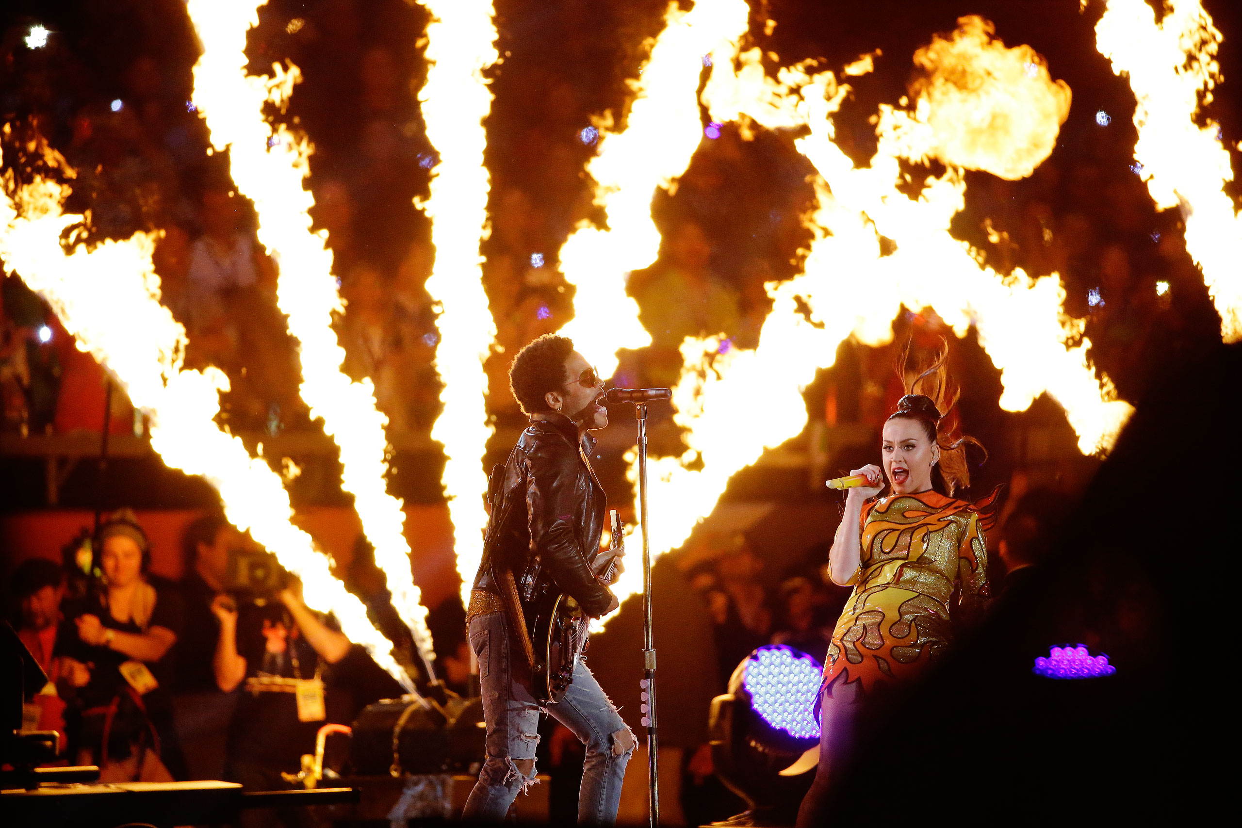 Katy Perry, right, and Lenny Kravitz perform during halftime of the NFL Super Bowl XLIX football game between the Seattle Seahawks and the New England Patriots on Feb. 1, 2015 in Glendale, Ariz.