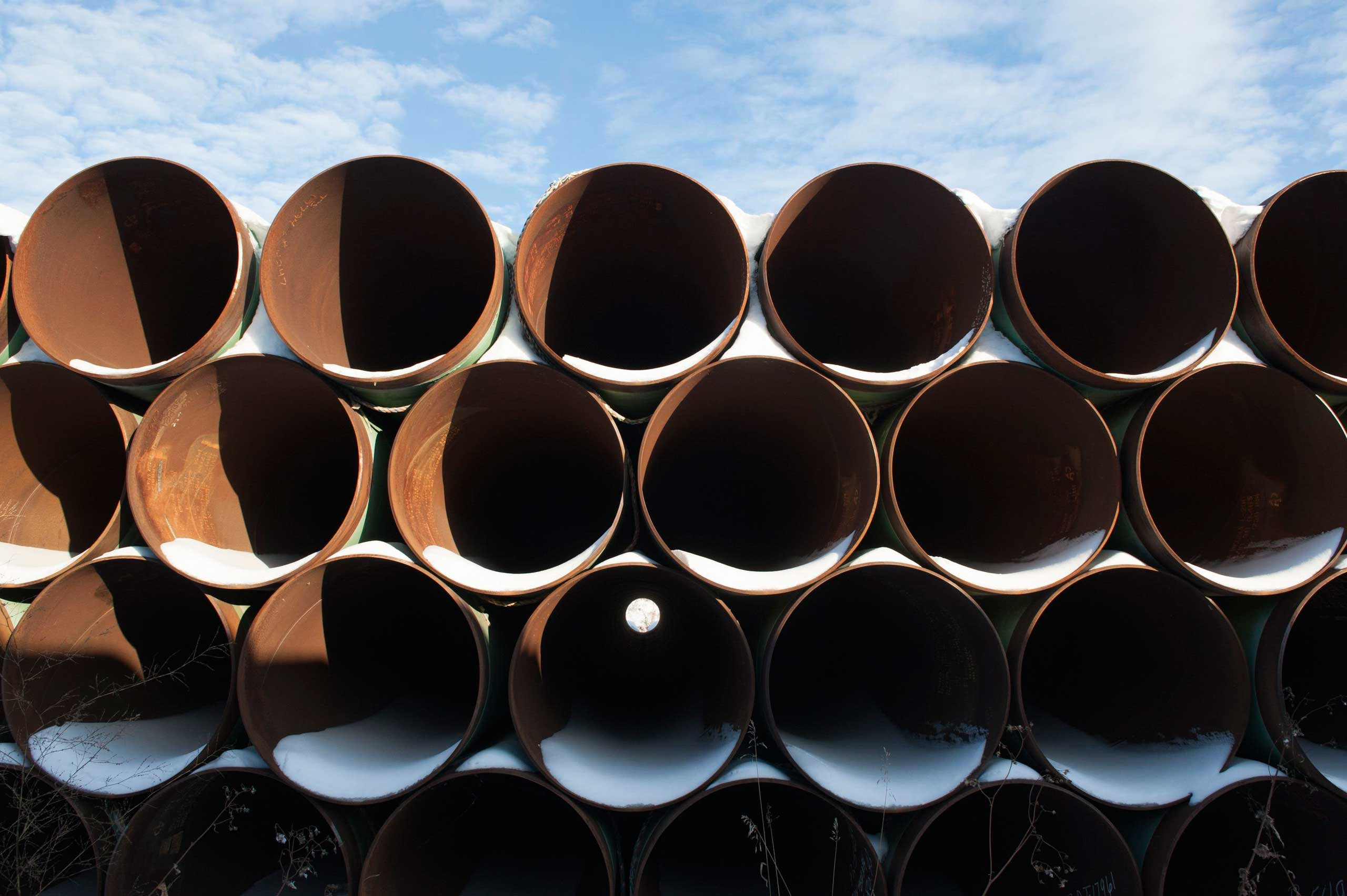 A depot used to store pipes for Transcanada Corp's planned Keystone XL oil pipeline is seen in Gascoyne, N.D. on Nov. 14, 2014.