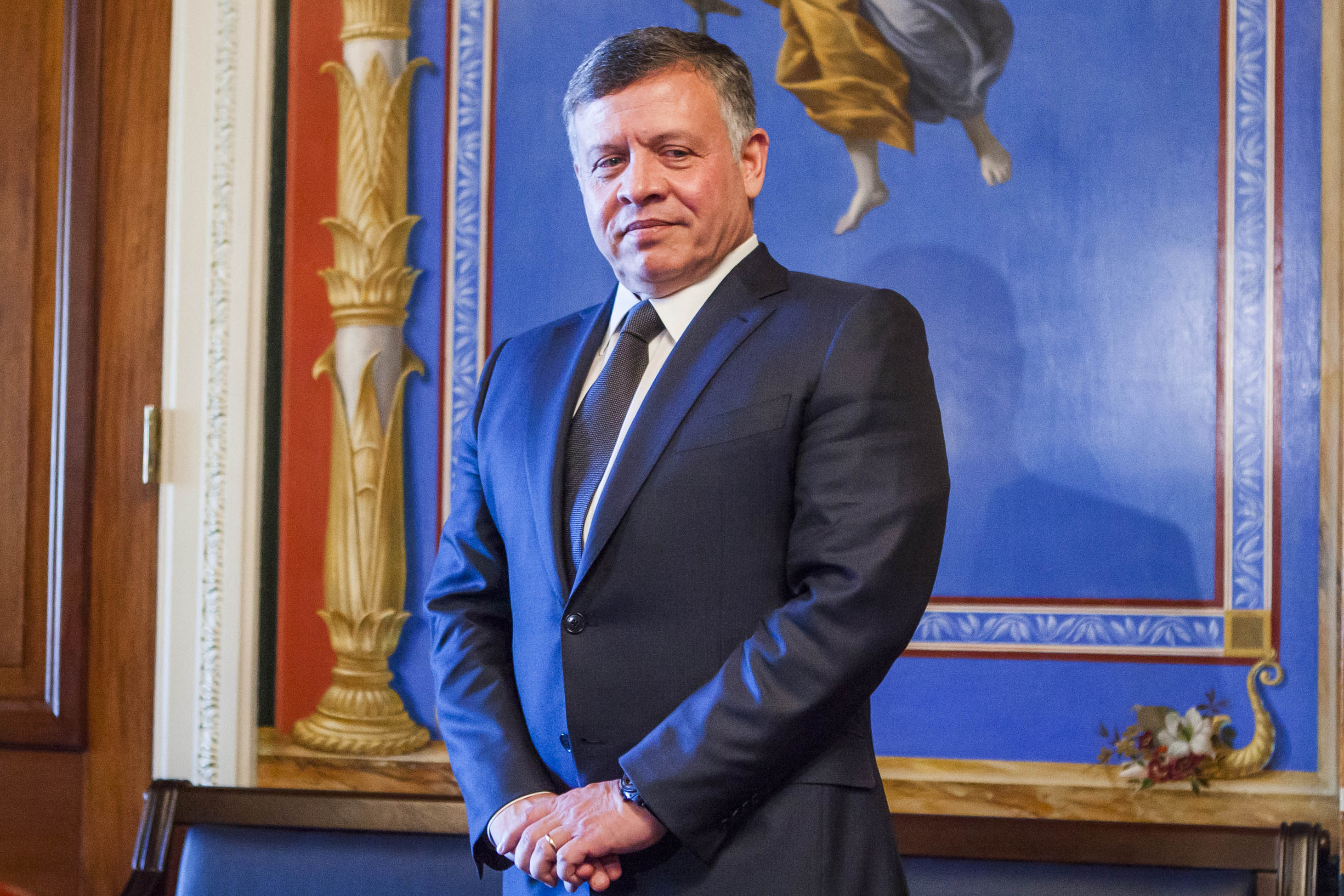 King Abdullah II of Jordan meets with members of the US Senate Appropriations Committee at the U.S. Captiol in Washington on Feb. 03, 2015.