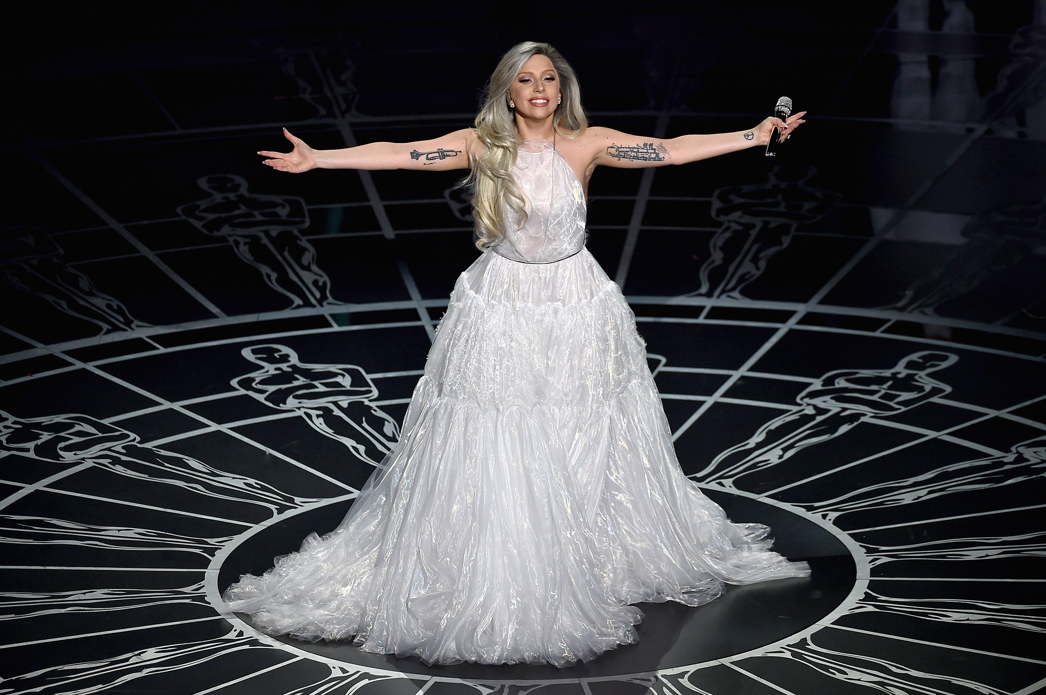 Lady Gaga performs onstage during the 87th Annual Academy Awards at Dolby Theatre on Feb. 22, 2015 in Hollywood, Calif.