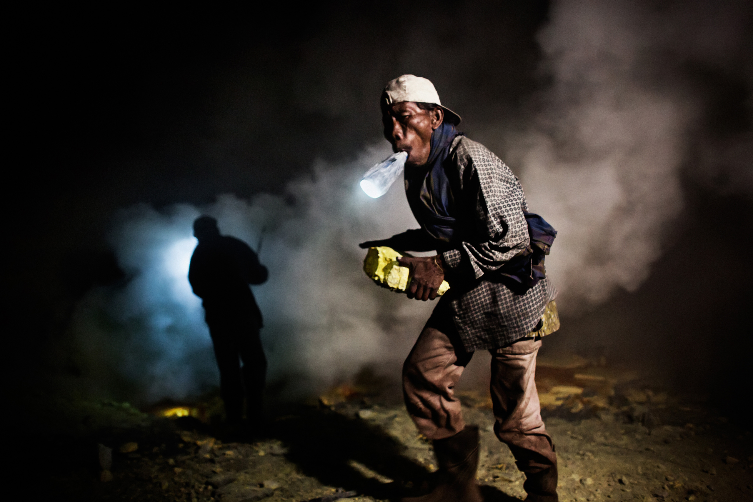 Murahman, 47, a sulfur miner for 25 years, Nov. 4, 2014.
