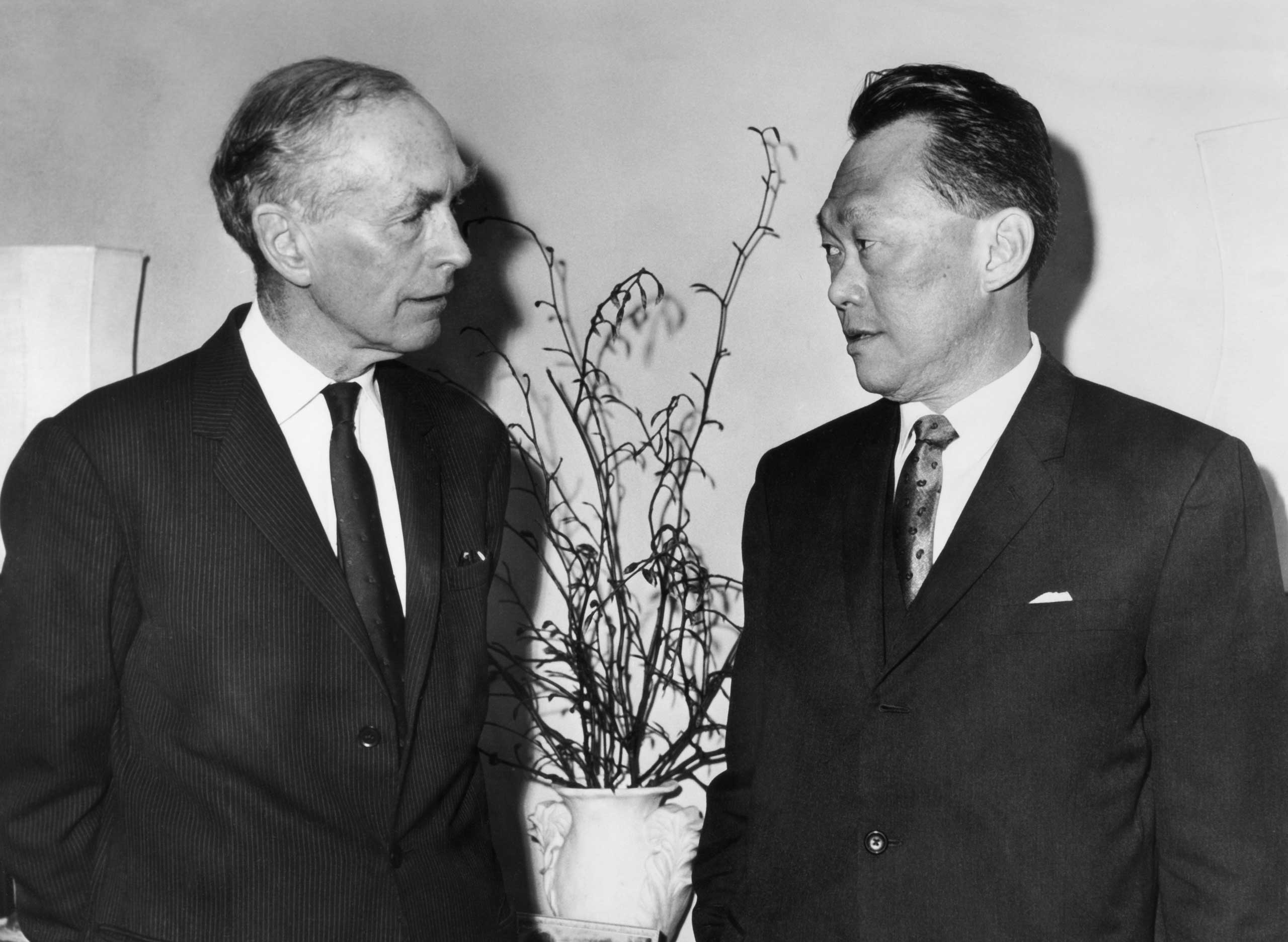 Sir Alec Douglas Home, former British Prime Minister meets with Lee Kuan Yew, in London,  1969.
