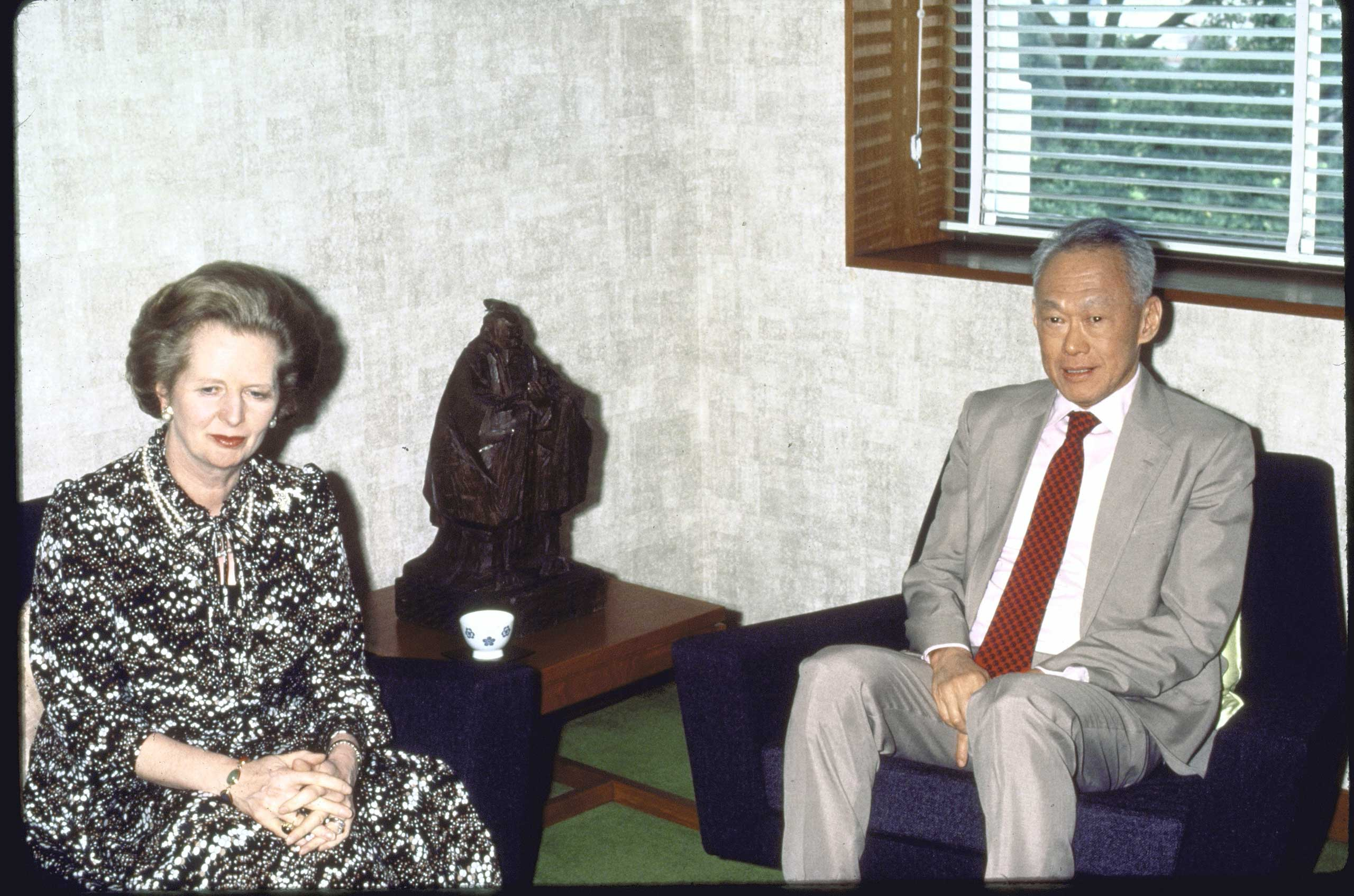 Premier Lee Kuan Yew with visiting British Prime Minister Margaret Thatcher in 1985.