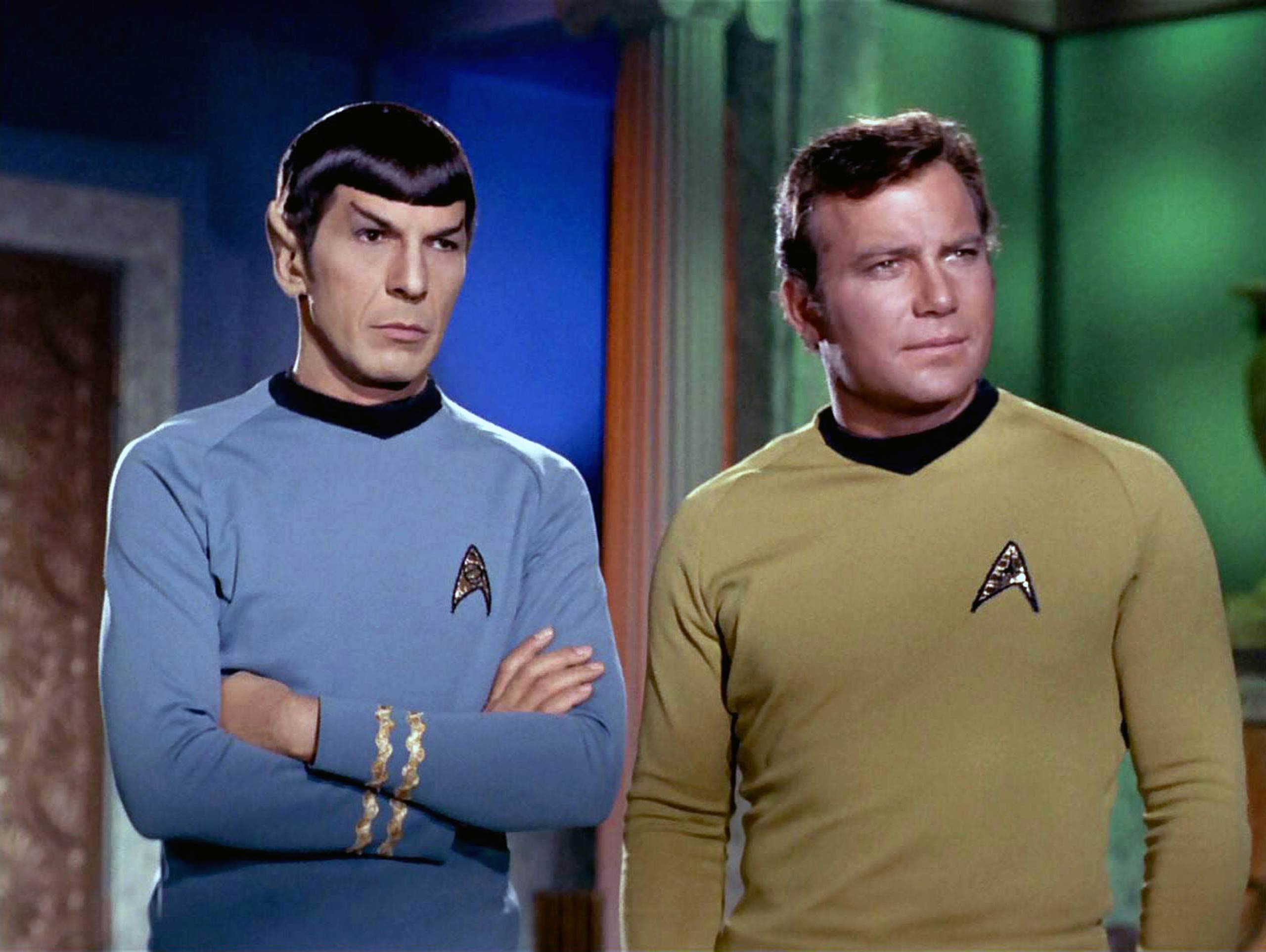Leonard Nimoy as Mr. Spock and William Shatner as Captain James T. Kirk in season 3 of <i>Star Trek</i> in 1968.