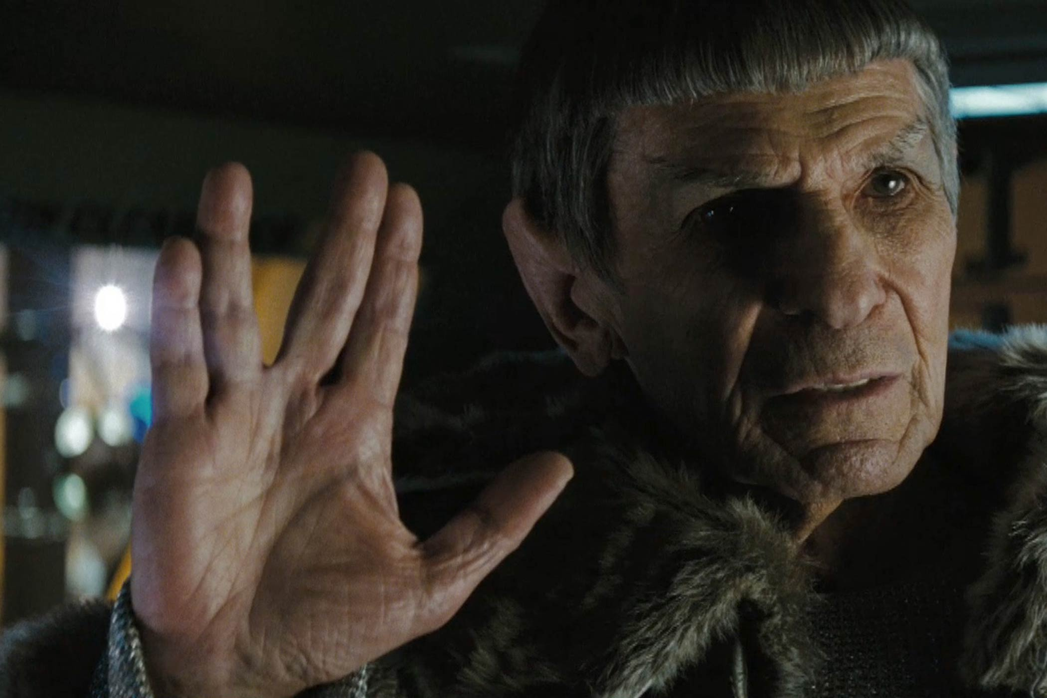 Leonard Nimoy guest stars as Mr. Spock in Star Trek in 2009.