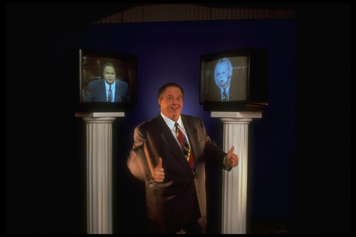 Rush Limbaugh flashing thumbs up sign in 1994
