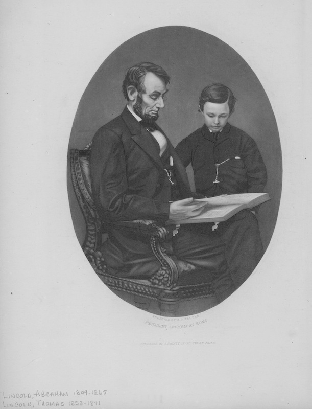 Engraved portrait of President Abraham Lincoln and his son Thomas, as Lincoln reads from a large book, circa 1850.