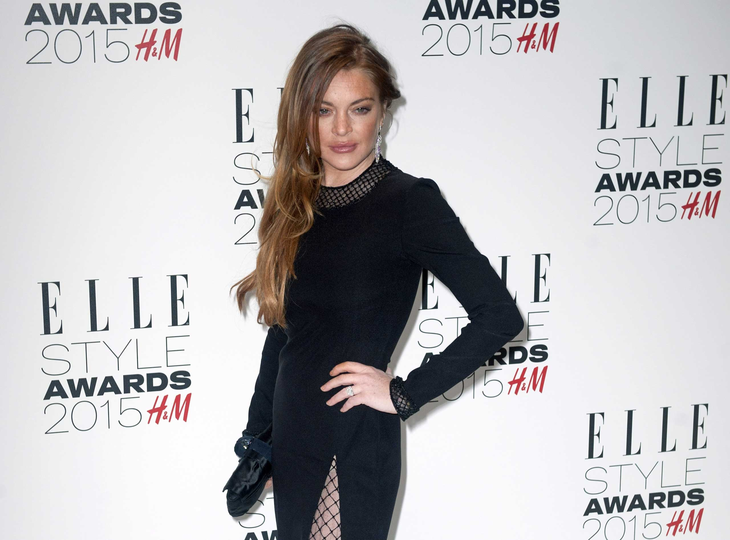 Lindsay Lohan arrives at the Elle Style Awards in London on Feb. 24, 2015.