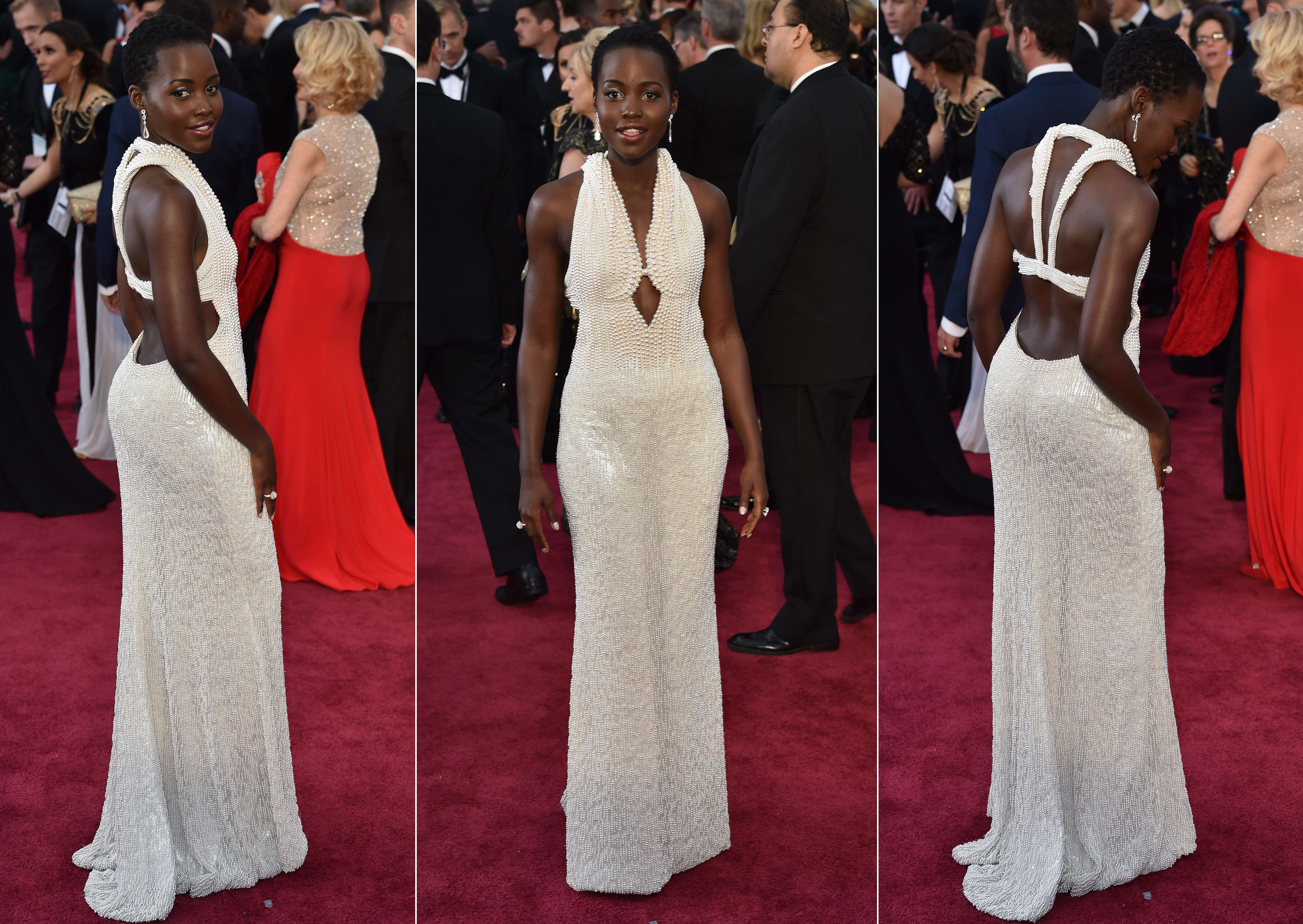 Actress Lupita Nyong'o poses on the red carpet in this combination image for the 87th Oscars on February 22, 2015 in Hollywood, California.