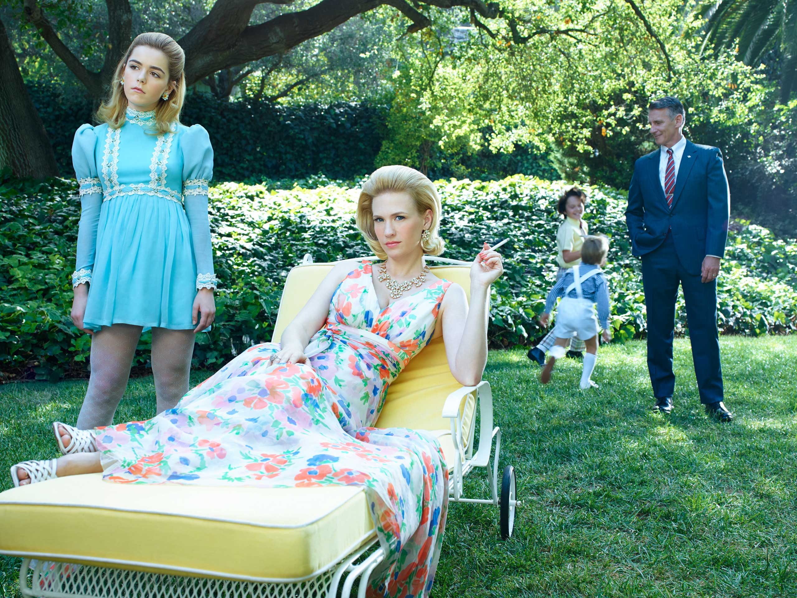 From Left: Kiernan Shipka as Sally Draper, January Jones as Betty Francis and Christopher Stanley as Henry Francis in 'Mad Men' season 7B.