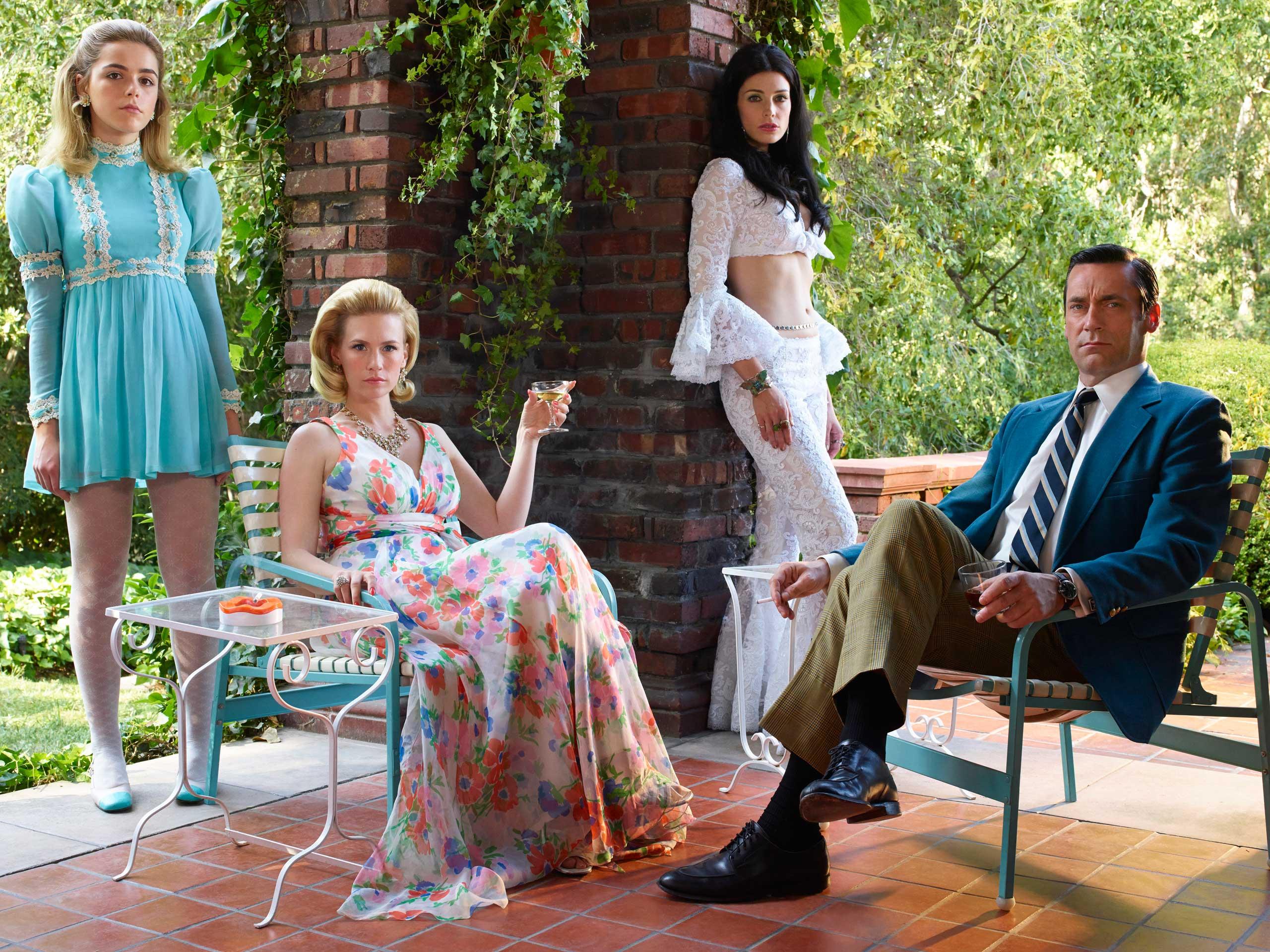 From Left: Kiernan Shipka as Sally Draper, January Jones as Betty Francis, Jessica Pare as Megan Draper and Jon Hamm as Don Draper in Mad Men season 7B.
