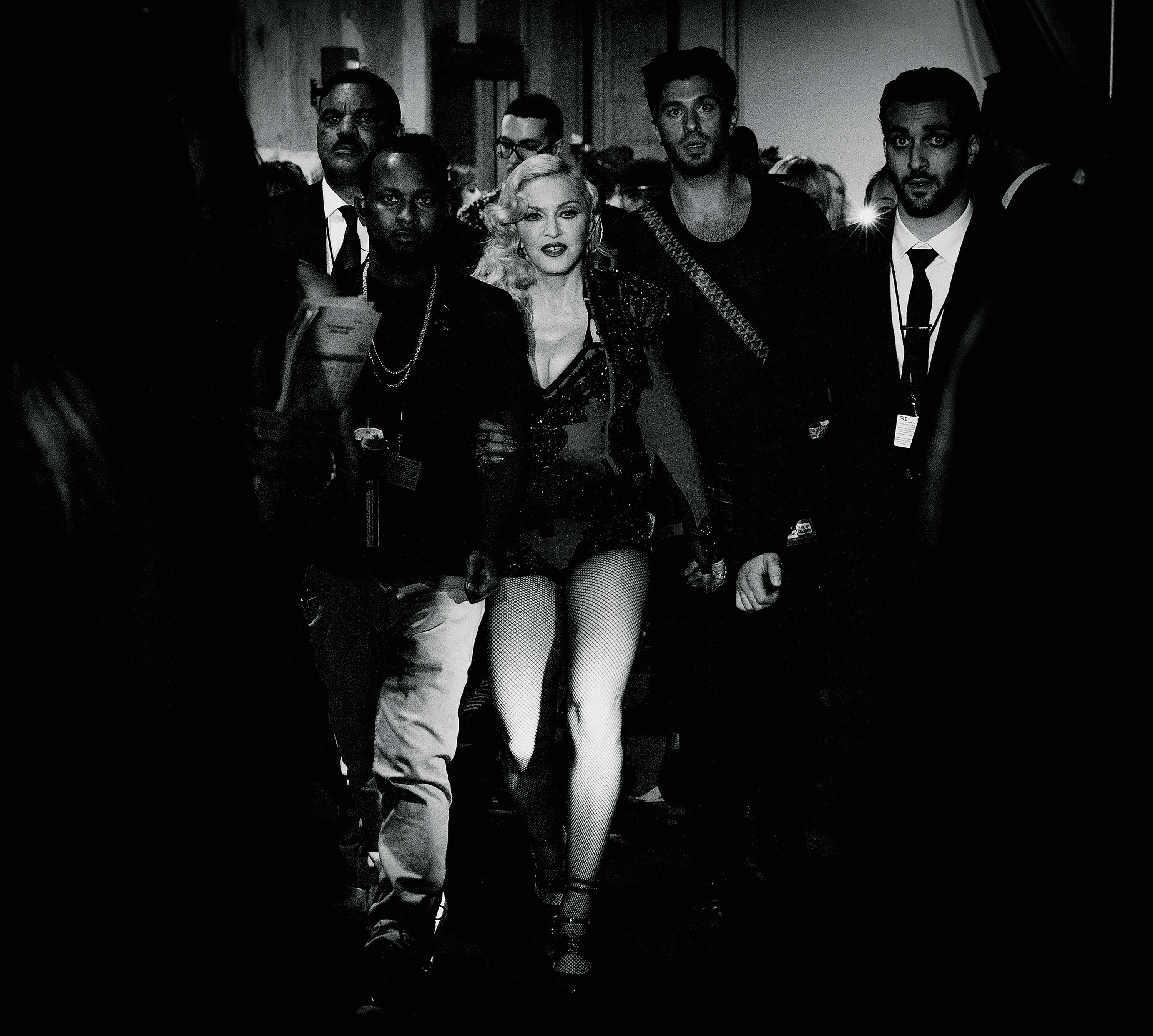 Hitting her stride: Madonna backstage at the 57th annual Grammy Awards on Feb. 8