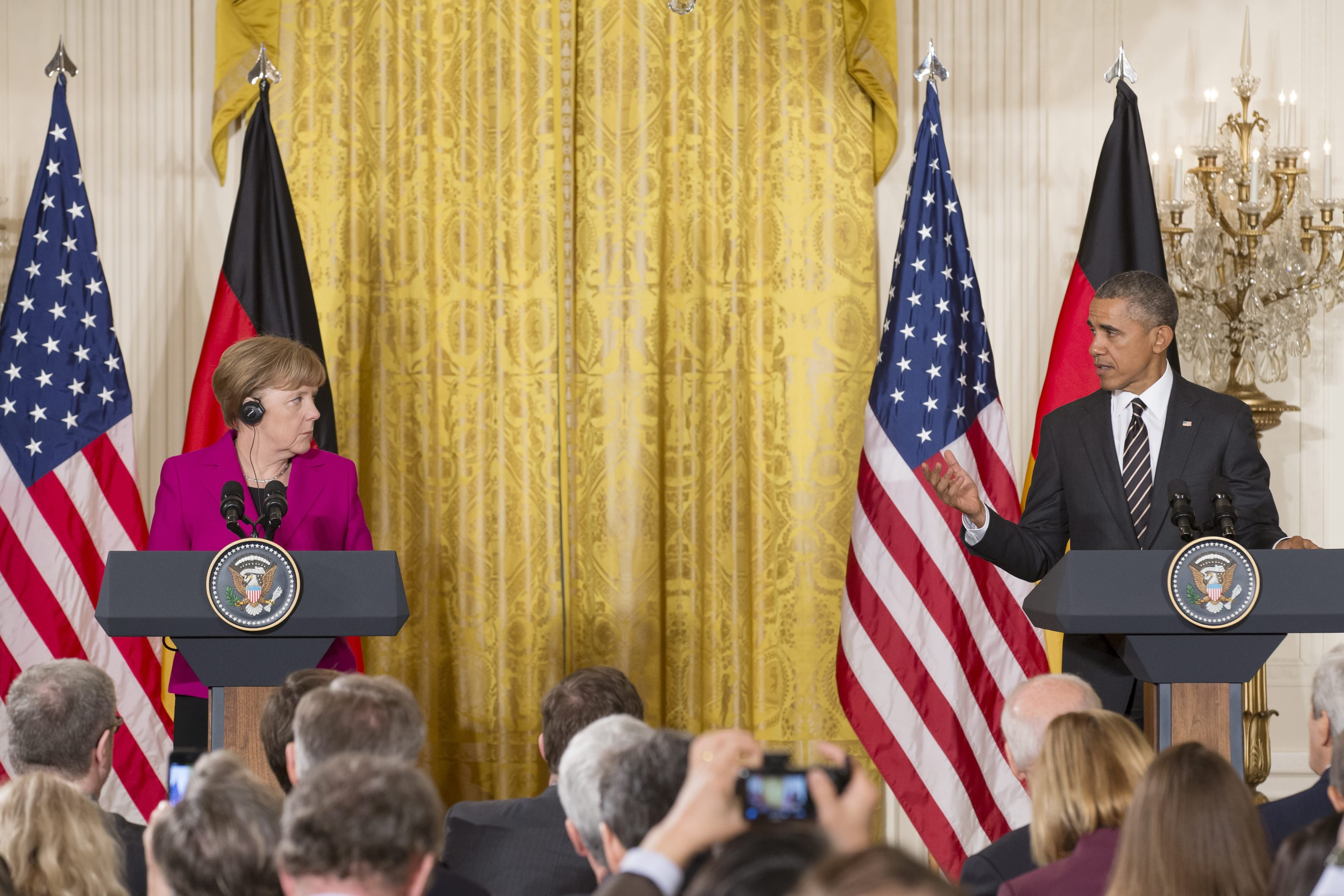 From Left: Chancellor of Germany Angela Merkel and President Barack Obama hold a joint news conference in the East Room of the White House in Washington D.C. on Feb. 9, 2015.