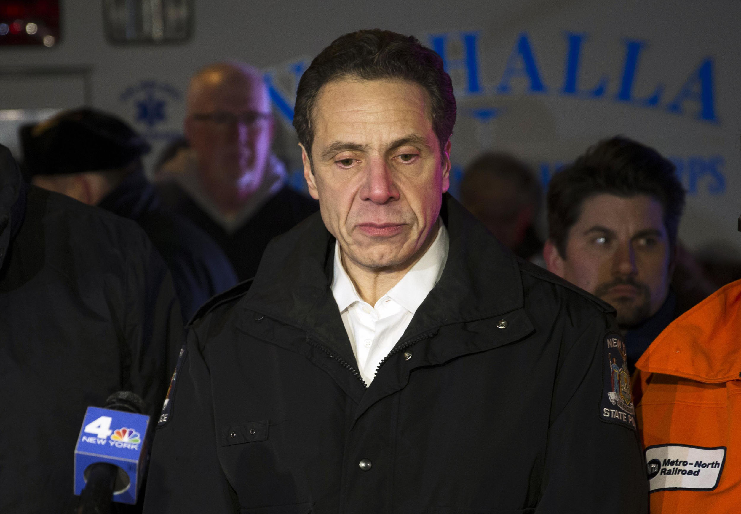 New York Governor Andrew Cuomo pauses as he speaks holds a press conference near the site where a Metro North commuter train hit a car near Valhalla, N.Y. on Feb. 3, 2015.