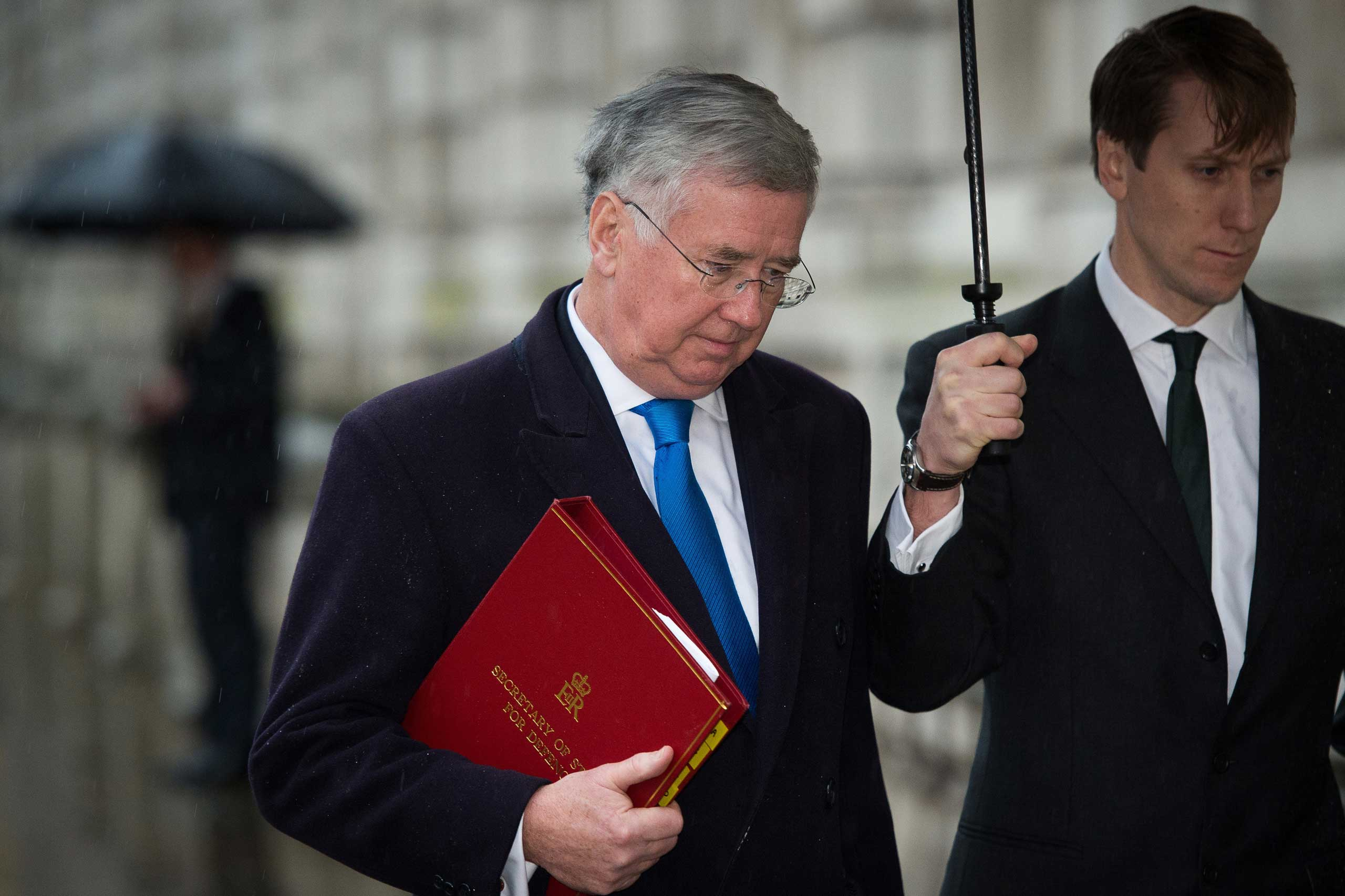 British Defence Minister Michael Fallon arrives at the Cabinet Office in central London in 2015.