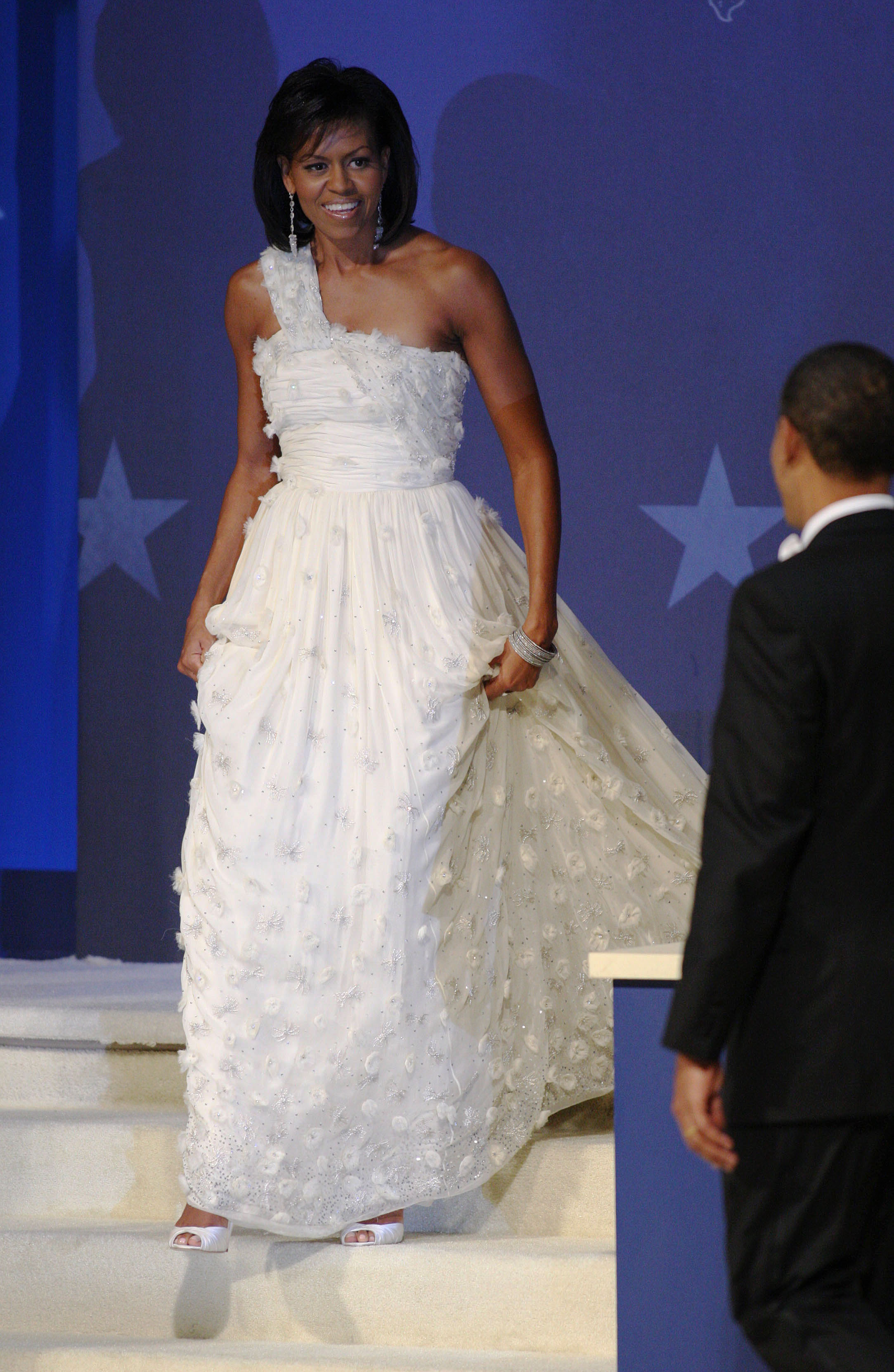 President Barack Obama introduced his wife Michelle at the Commander-In-Chief Ball after his inauguration held at the National Building Museum in Washington on Jan. 20, 2009.