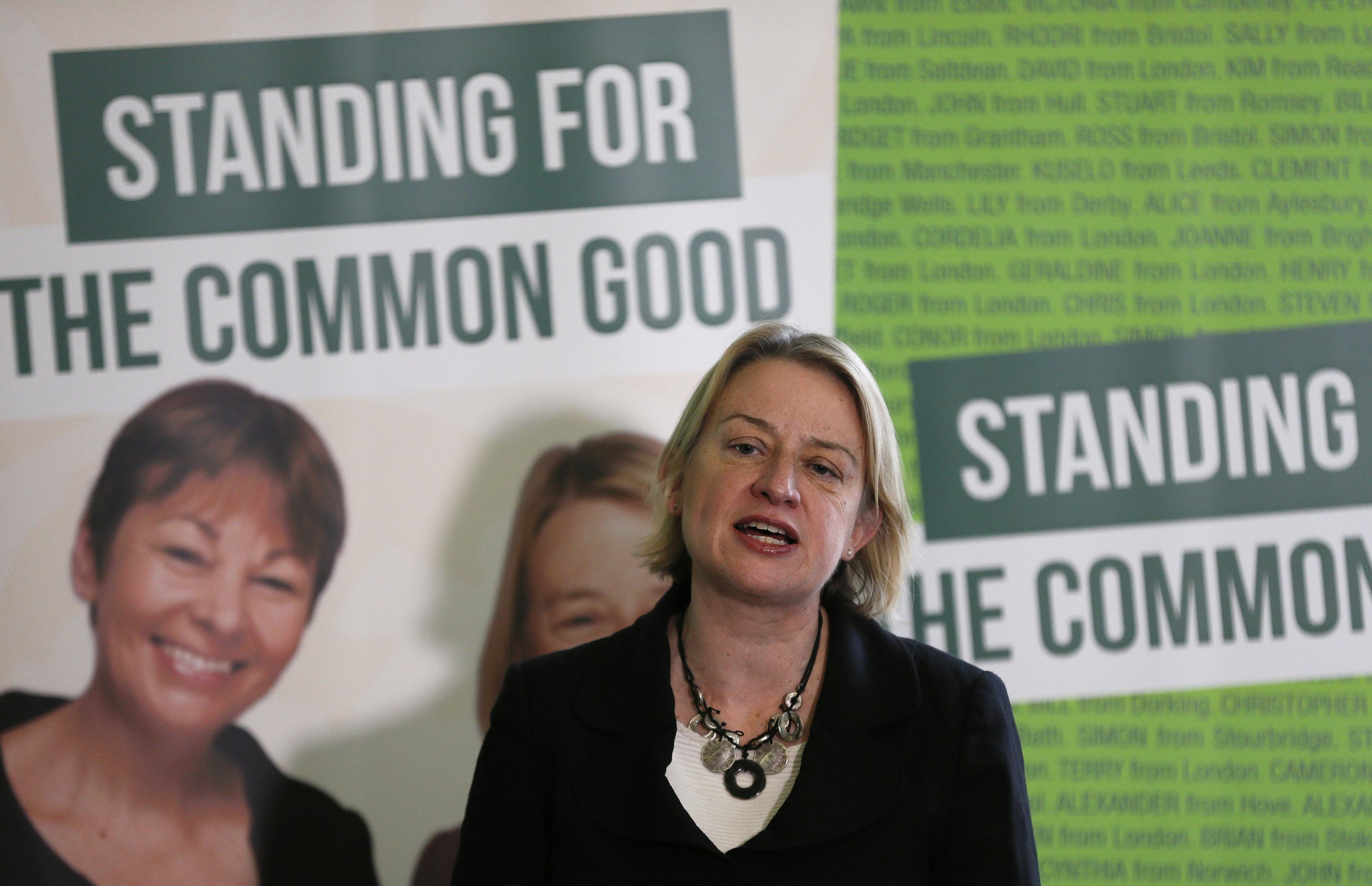 Britain's Green Party leader Natalie Bennett speaks during the party's general election campaign launch in London on Feb. 24, 2015.