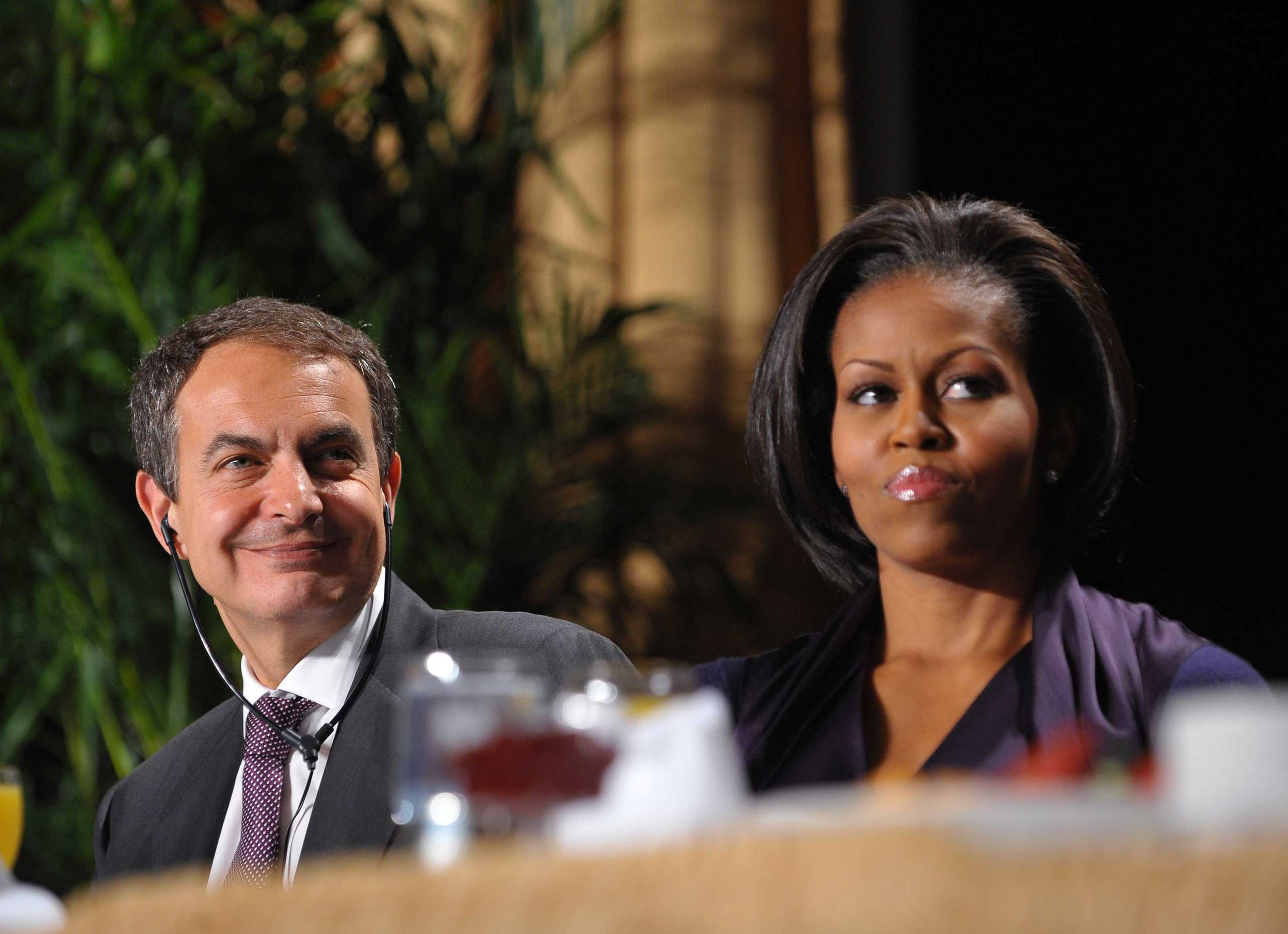 Michelle Obama sits with Spanish Prime Minister Jose Luis Rodriguez Zapatero, who was the guest speaker at the 2010 National Prayer Breakfast.