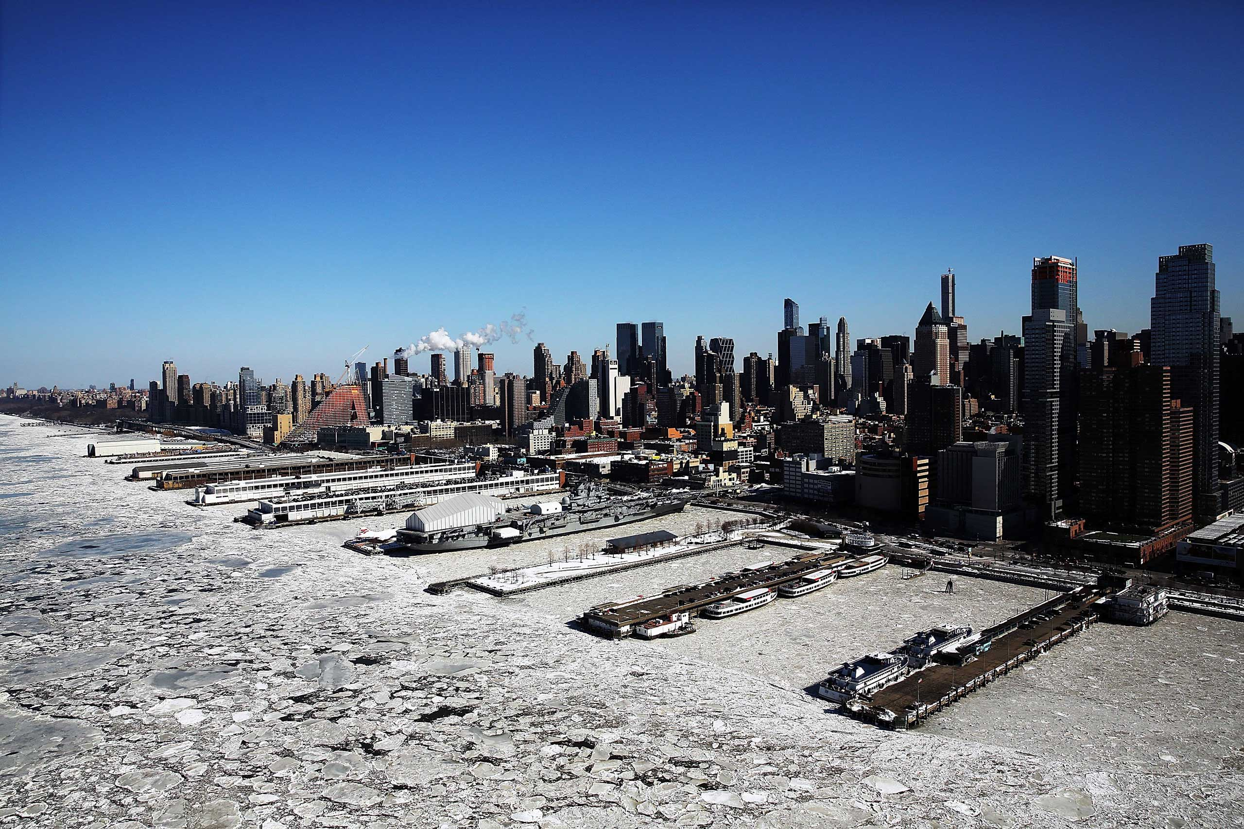 Ice flows along the Hudson River in New York City on Feb. 20, 2015.