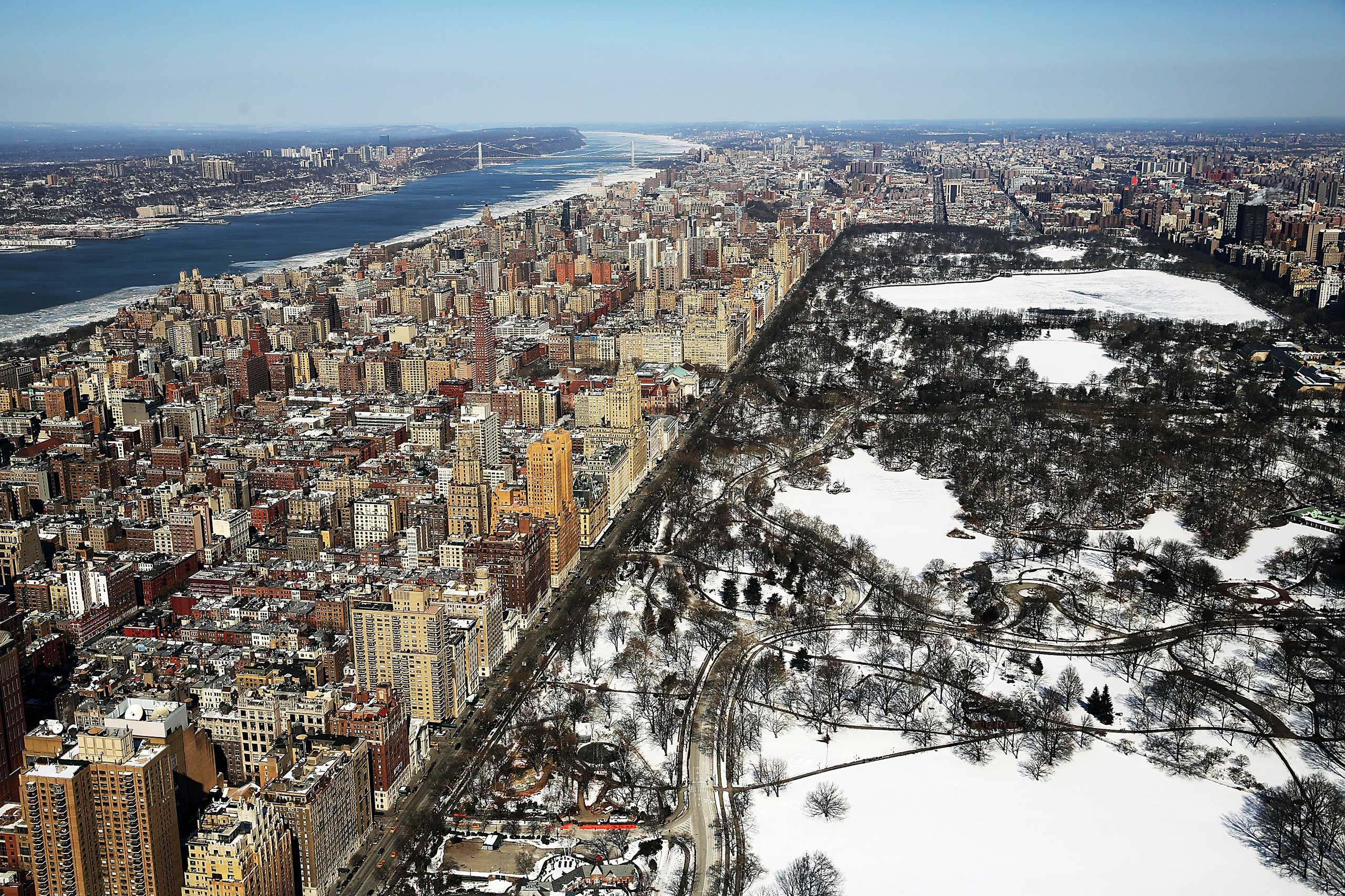 Snow and ice cover Central Park on Feb. 20, 2015 in New York City.